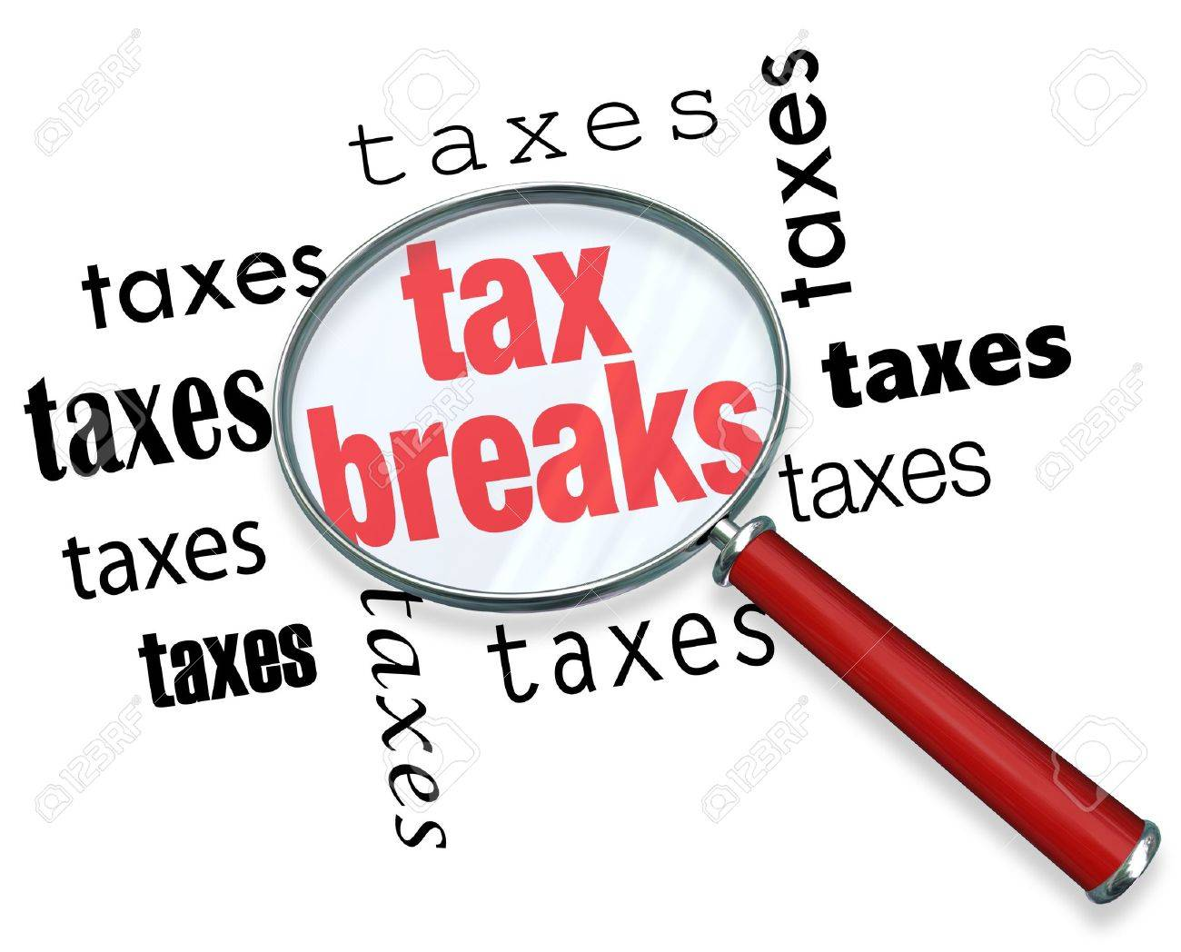 A magnifying glass hovering over the word tax breaks, symbolizing the advice and tricks that an accountant can use to increase deductions and save money when filing tax returns Stock Photo - 17674238
