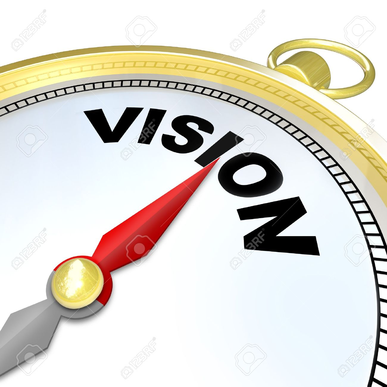 The needle on a golden compass points to the word Vision to give you clear direction, strategy, leadership, and a plan for future success Stock Photo - 17674380