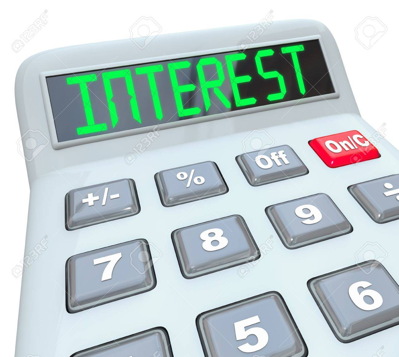 A plastic calculator displays the word Interest as you figure how the percentage interest rate you will pay on borrowed money or the money you will make on investments Stock Photo - 17800974