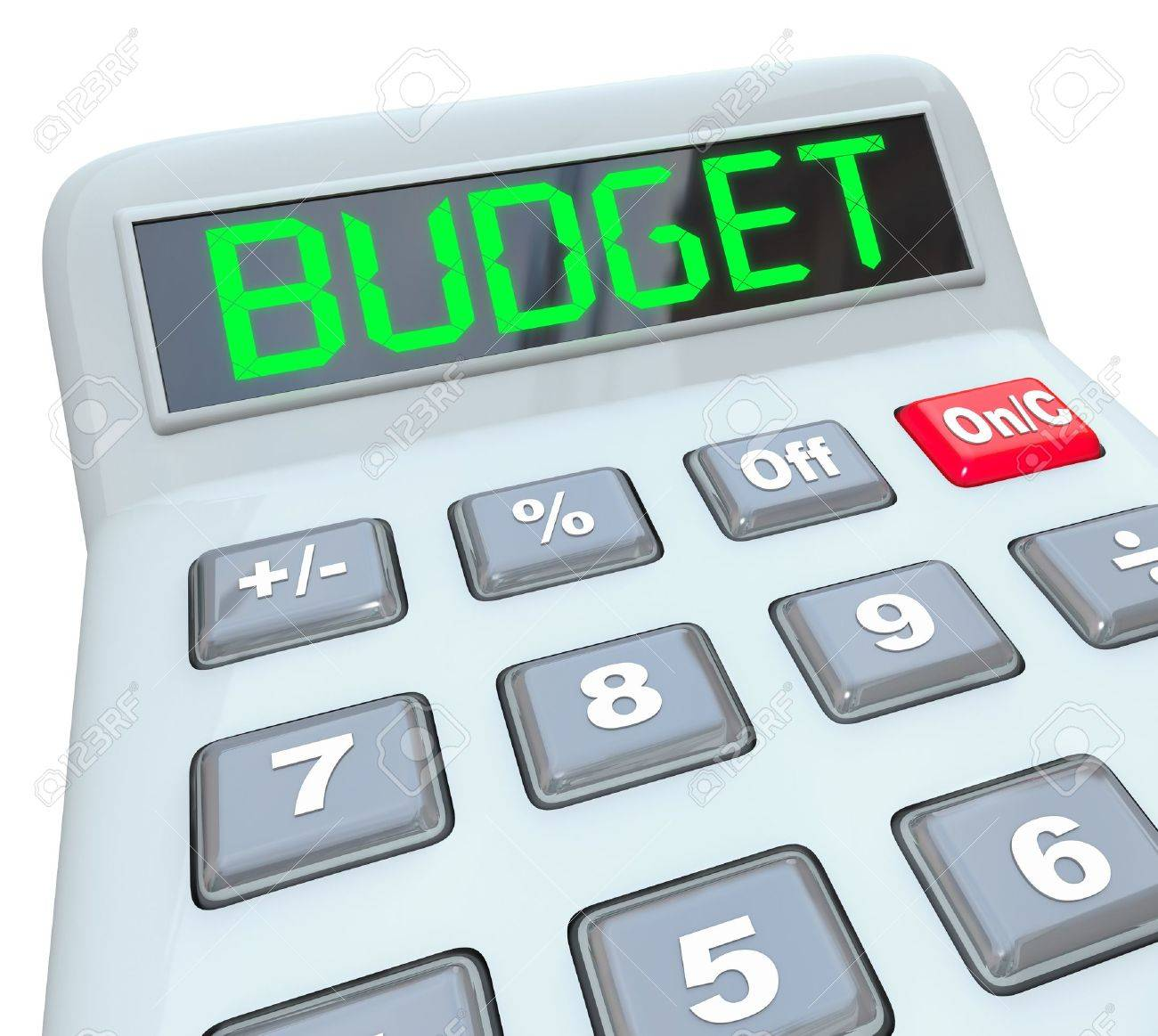 The word Budget in digital letters on the display of a plastic calculator Stock Photo - 17801010