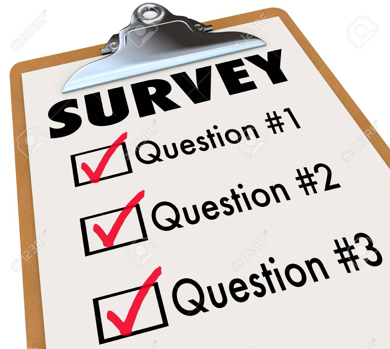 A checklist on a wooden clipboard with the word Survey and a list of questions to gather customer or audience feedback, reviews and reactions to important matters or products Stock Photo - 17800986