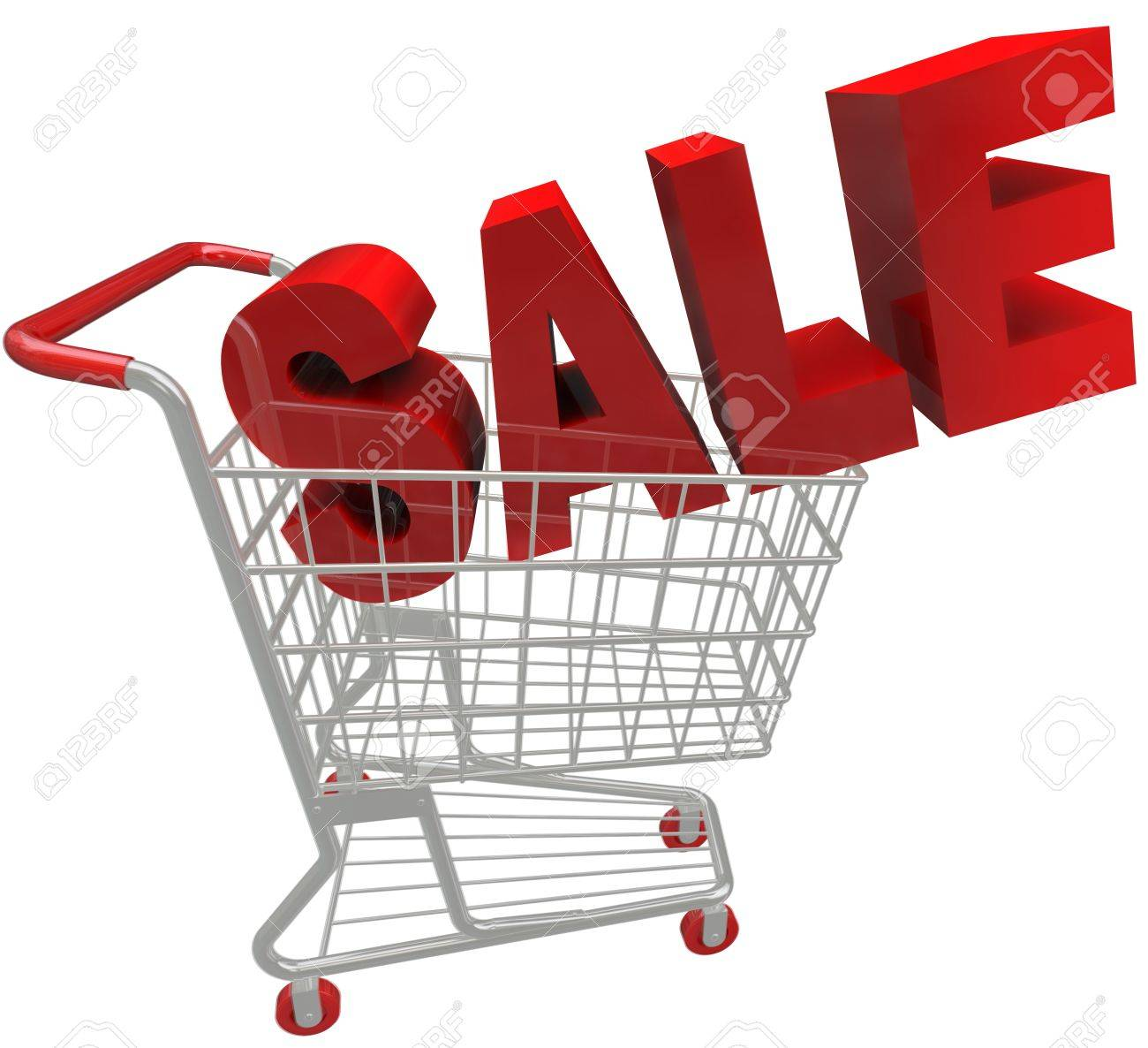 The word Savings in red letters and inside a metal shopping cart Stock Photo - 17944292
