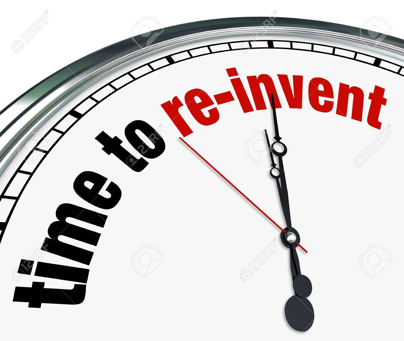 An ornate clock with the words Time to Re-Invent on its face Stock Photo - 17944310