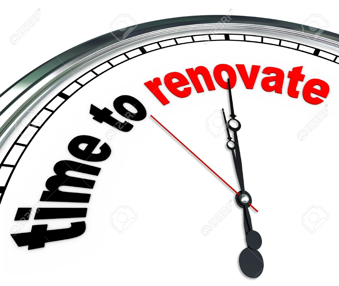 The words Time to Renovate on an ornate white clock, counting down to the moment you will rebuild or take on a reconstruction do it yourself project or as part of a renovation team Stock Photo - 17944331