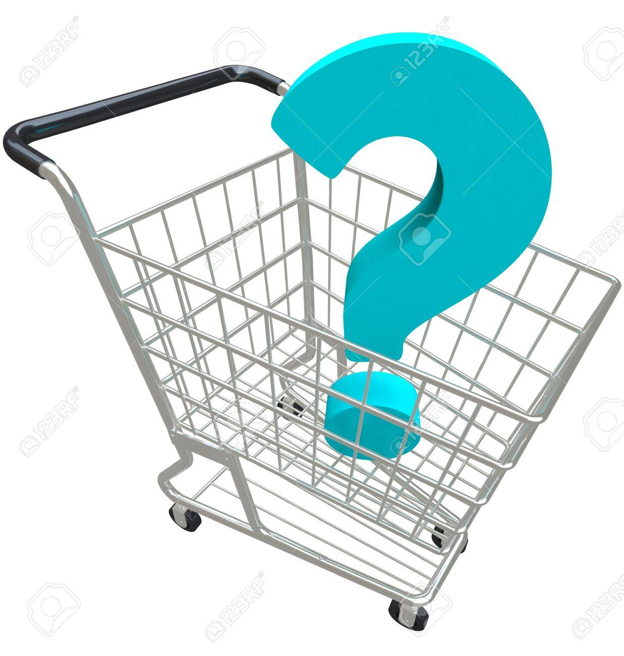 a blue question mark in a shopping cart asking for help customer a blue question mark in a shopping cart asking for help customer service and support in