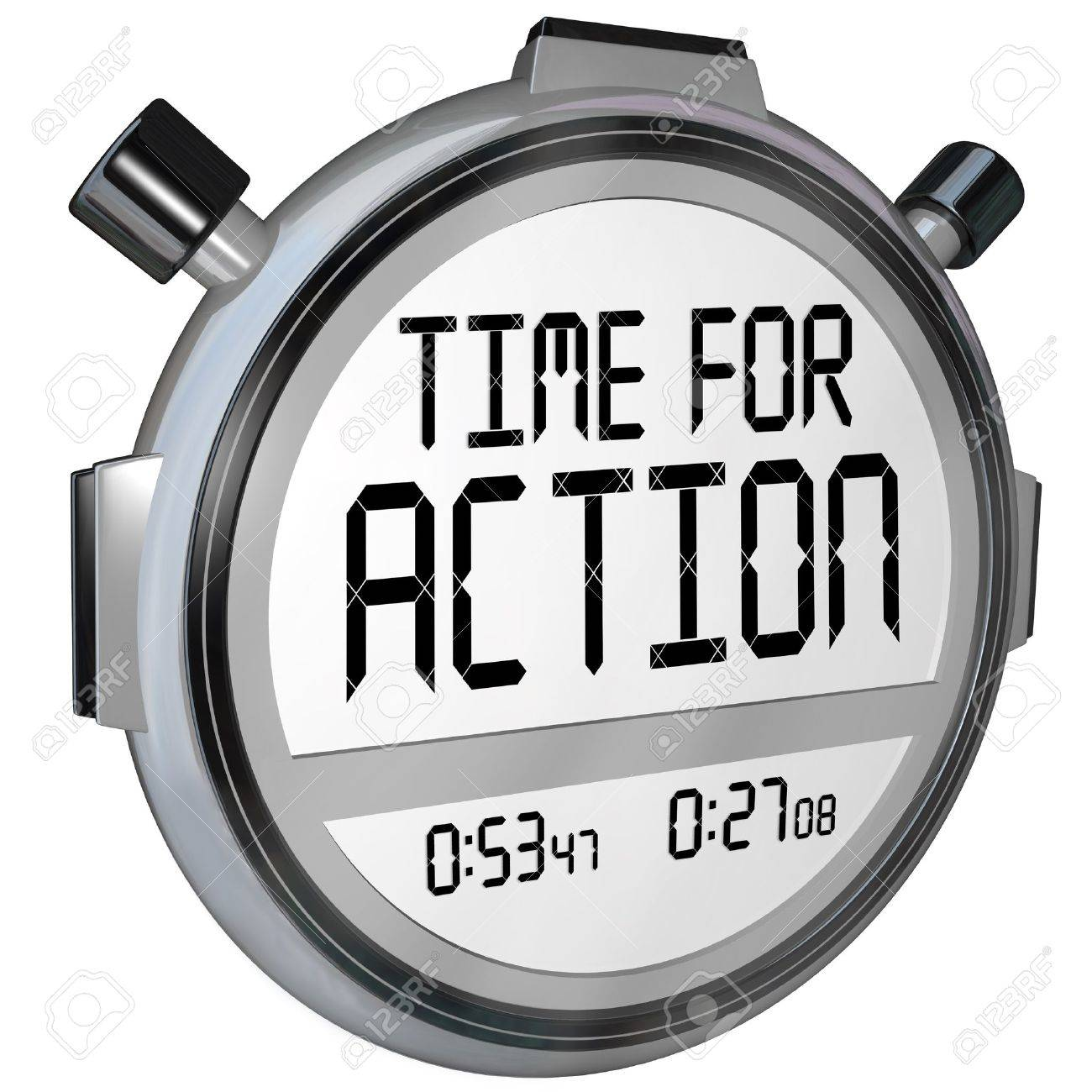 the words time for action on a stopwatch timer clock demanding