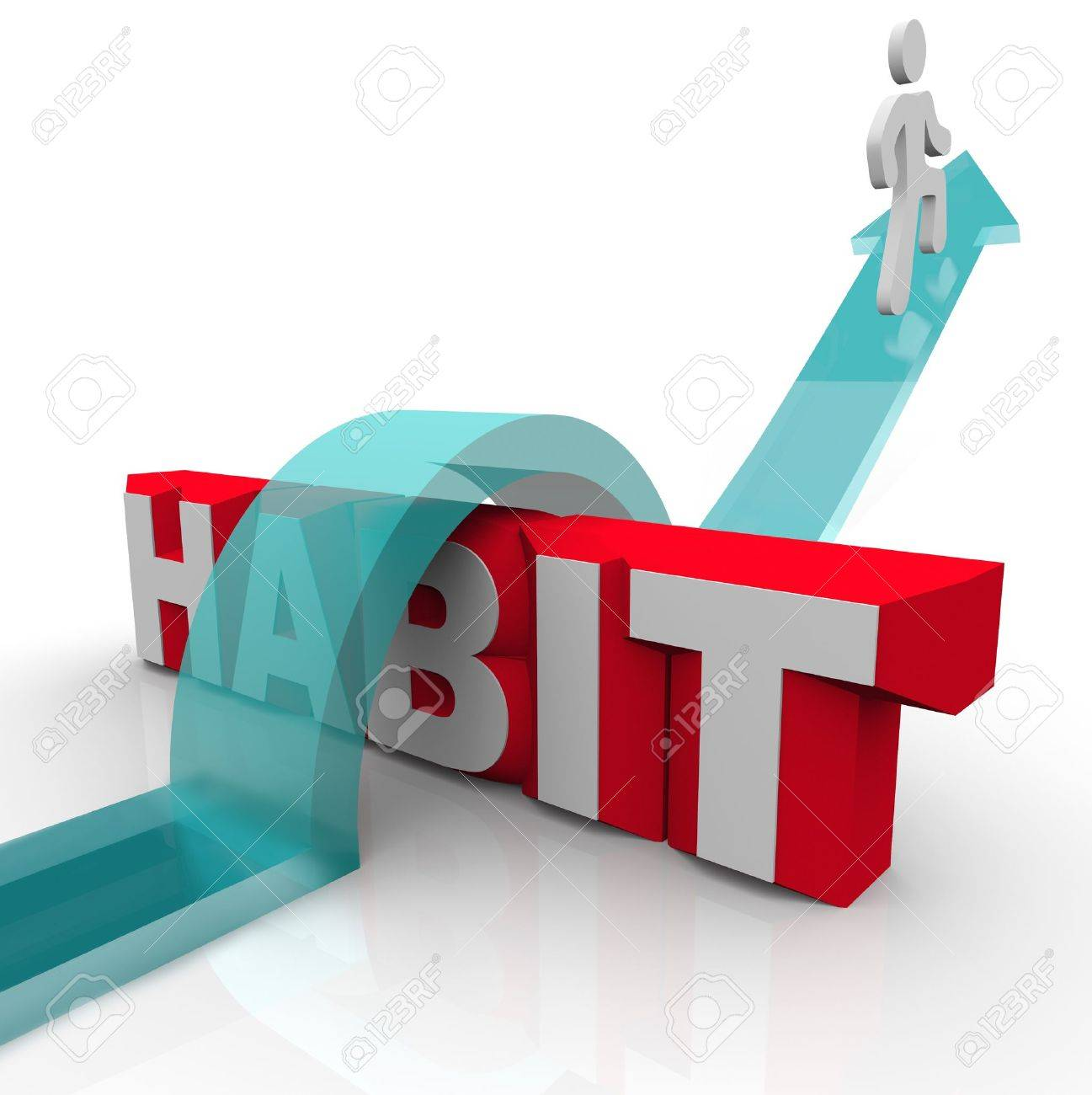 A man jumps over the word habit on an arrow, illustrating the bravery and courage needed to overcome and conquer an addiction or regular pattern that is harmful or boring Stock Photo - 18287407