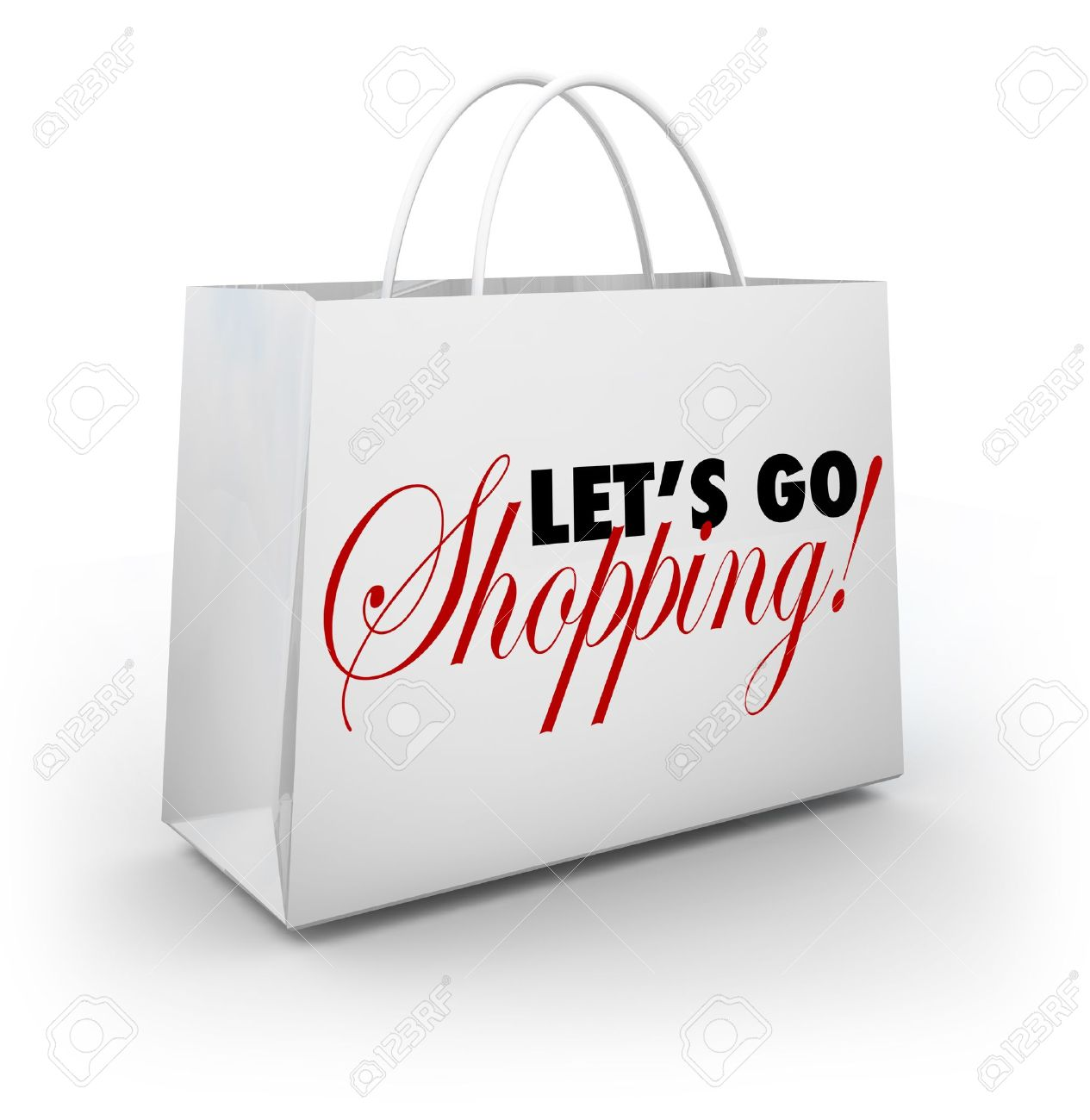 The words Let's Go Shopping on a white shopping bag for buying merchandise at a store during a sale or special clearance savings event Stock Photo - 18565299