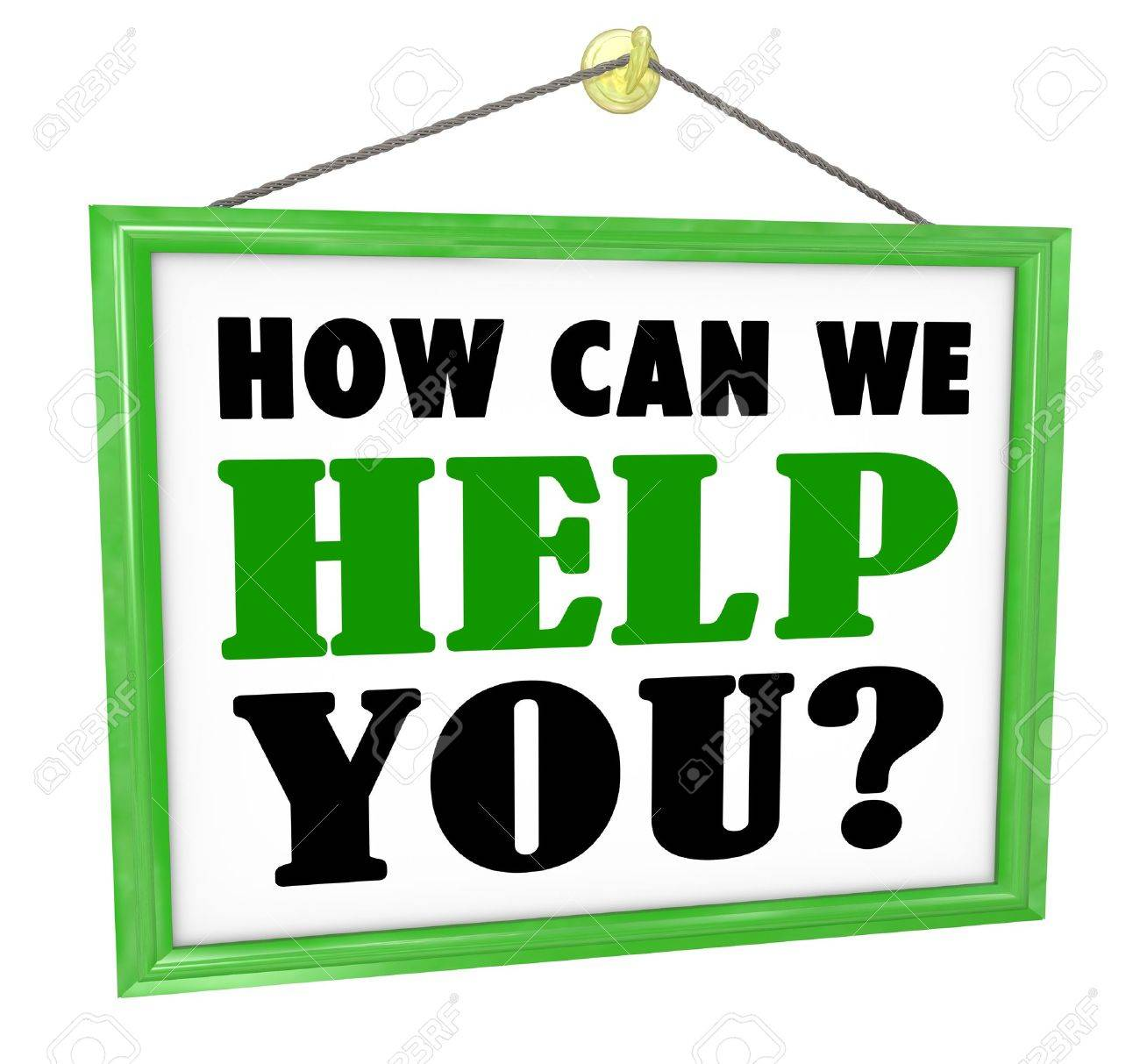 The words How Can We Help You on a hanging store offering customer service and assistance Stock Photo - 18704634