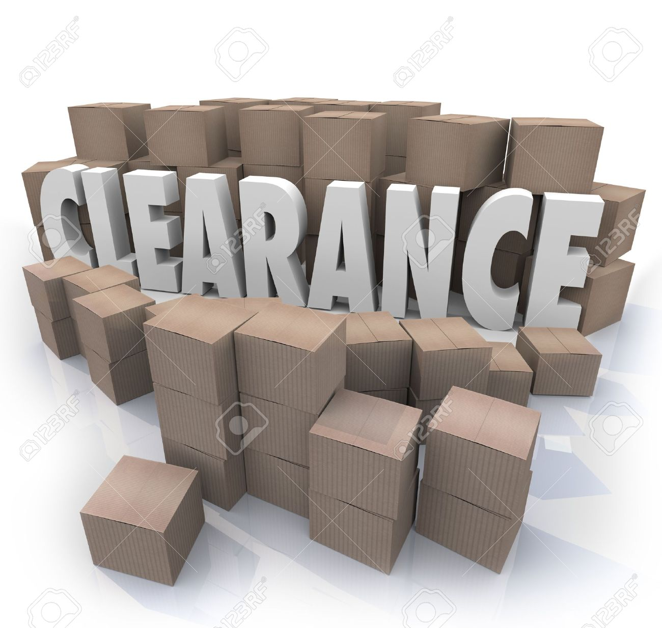 The word Clearance surrounded by cardboard boxes and packages in a storeroom or stockroom, an overstock supply of products on sale to be cleared out Stock Photo - 18781428