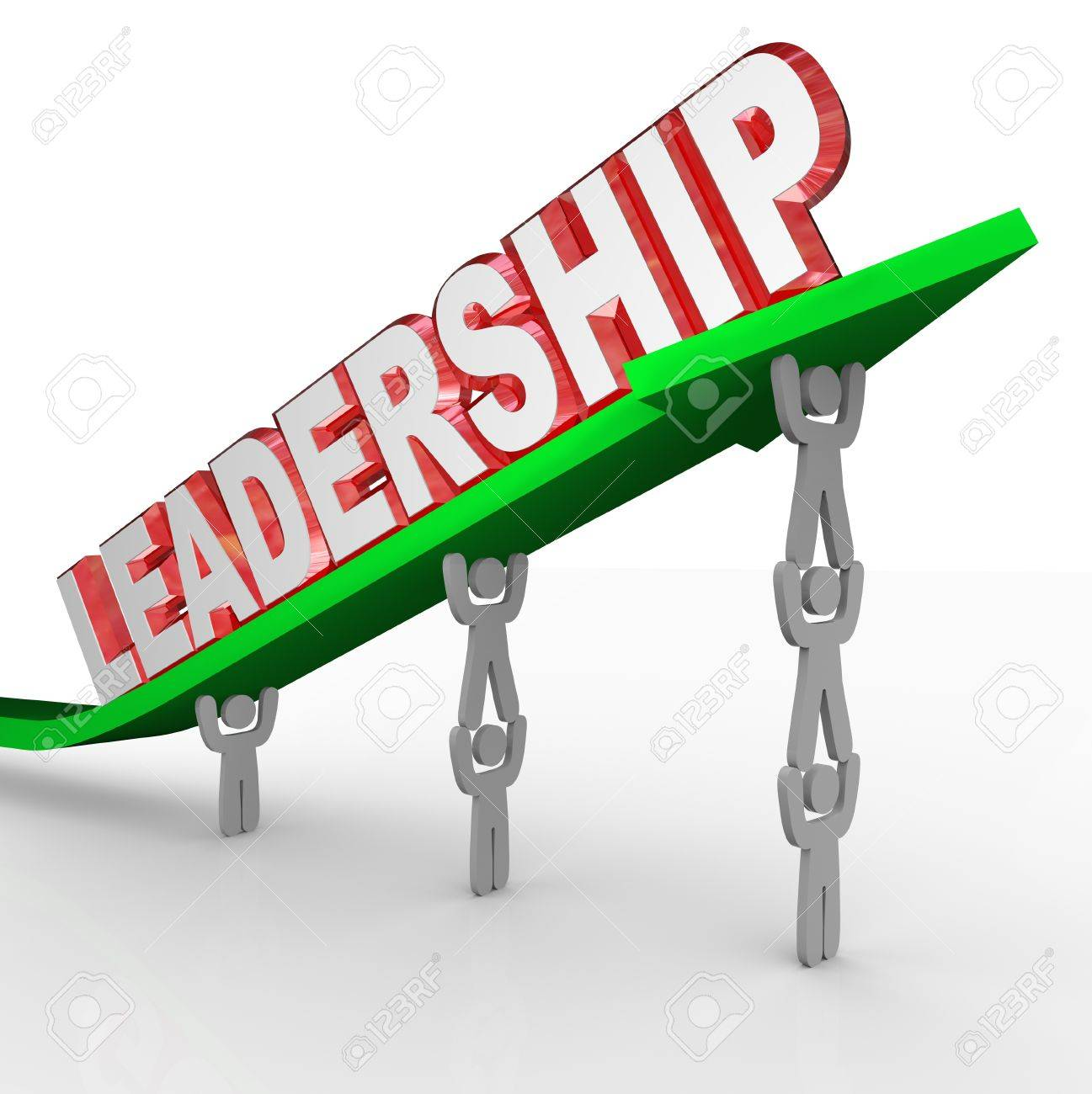 A team of people in an organization lifting an arrow with the word Leadership to symbolize management, direction and vision Stock Photo - 18781431