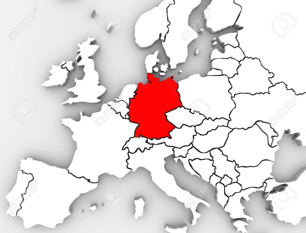 an abstract map of europe with the country of germany in red