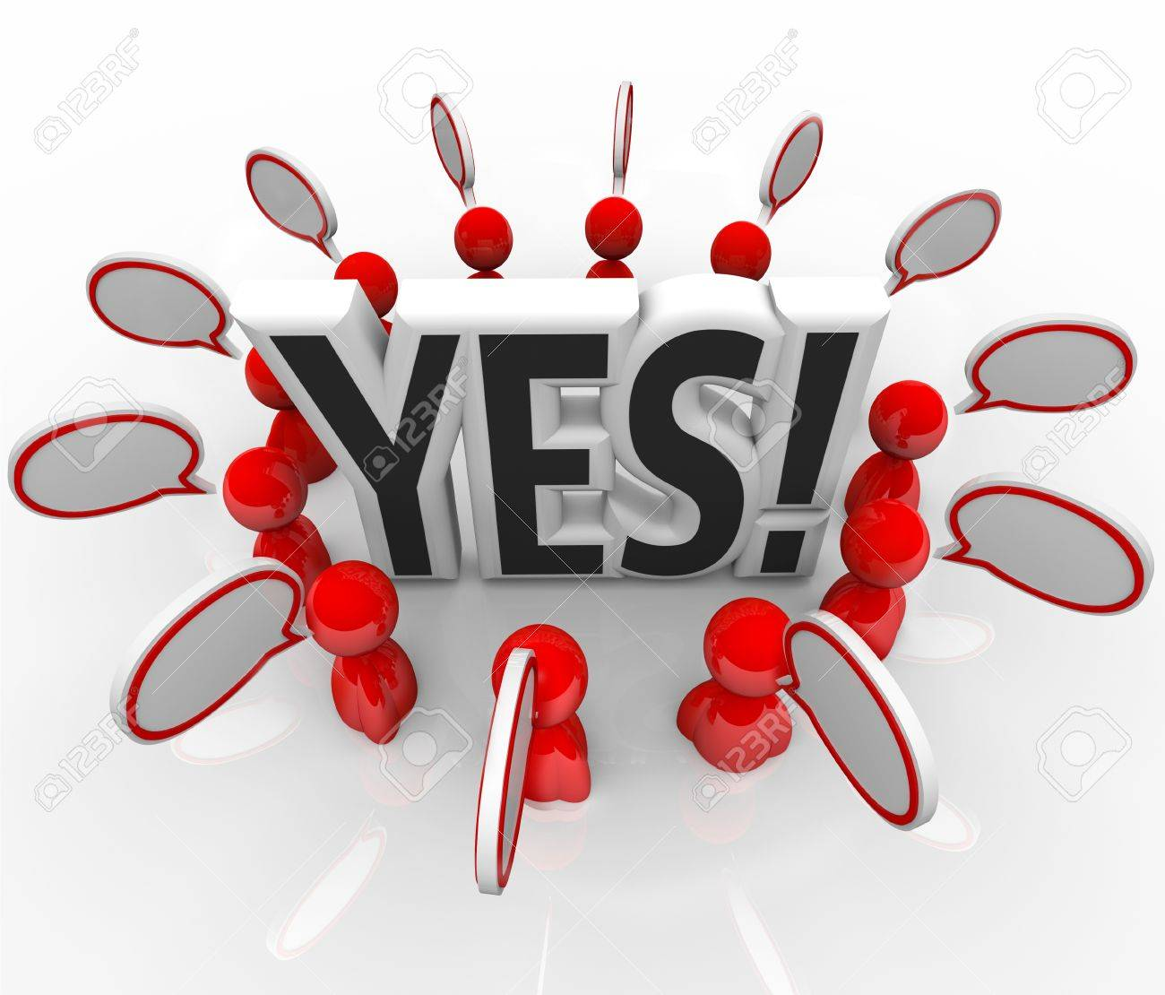 The word Yes surrounded by people and speech bubbles to symbolize answering with a positive response, acceptance or approval Stock Photo - 18912054
