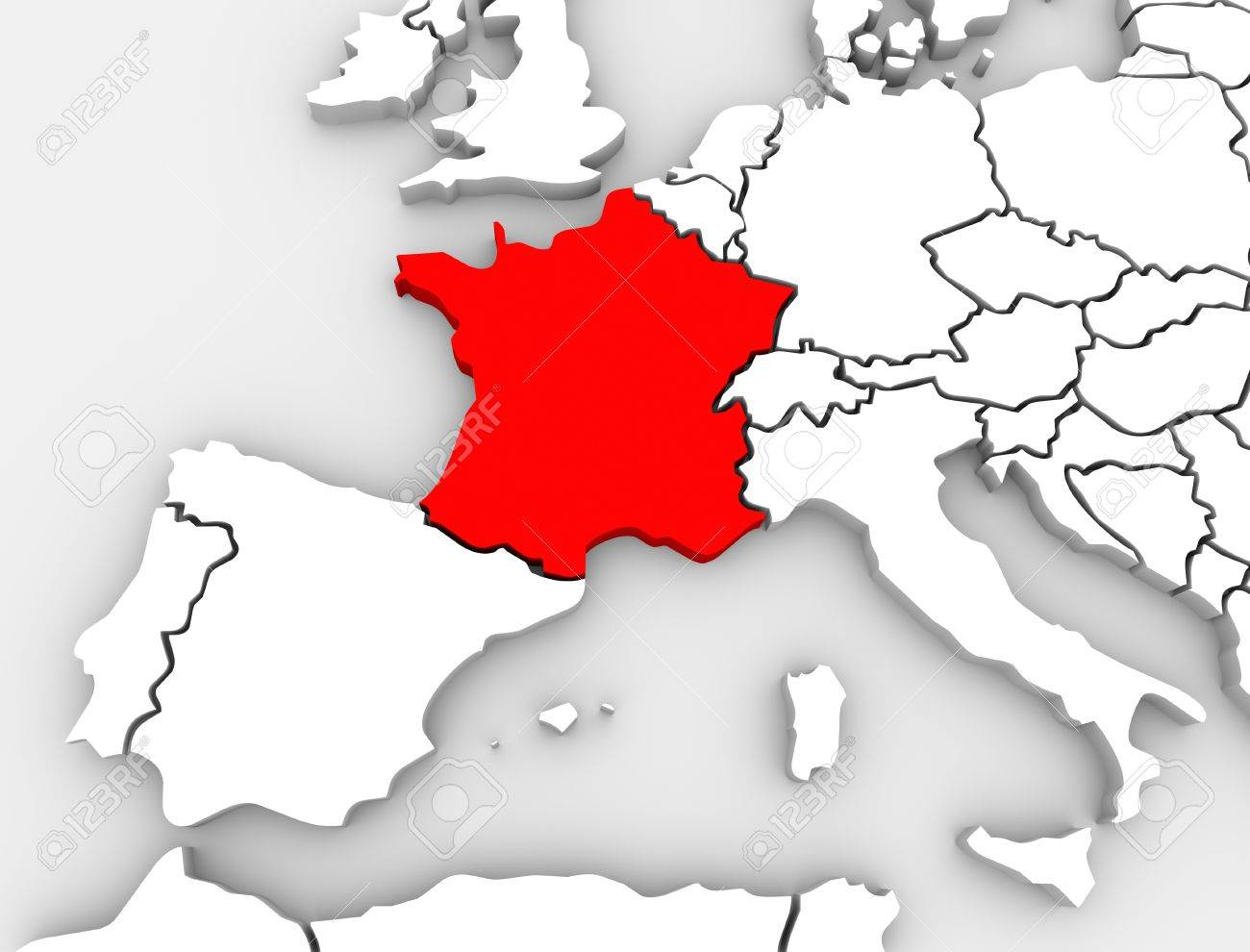 Map Of Europe With France Highlighted.An Abstract 3d Map Of Europe The Continent And Several Countries