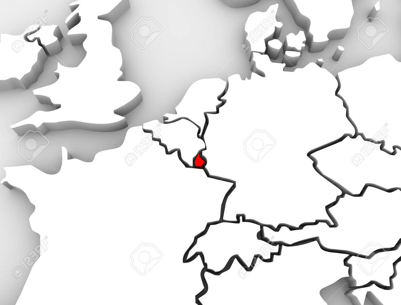 Map Of France Belgium And Luxembourg.An Abstract 3d Map Of Europe The Continent And Several Countries