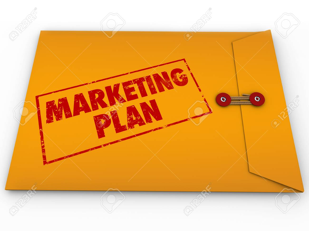 A yellow envelope with a red stamp with the words Marketing Plan to give you advice on a strategy for achieving business success and goals Stock Photo - 18985402