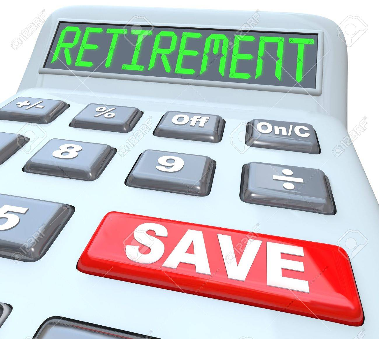 Retirement word on calculator with red button reading save to retirement word on calculator with red button reading save to symbolize the need for savings of falaconquin