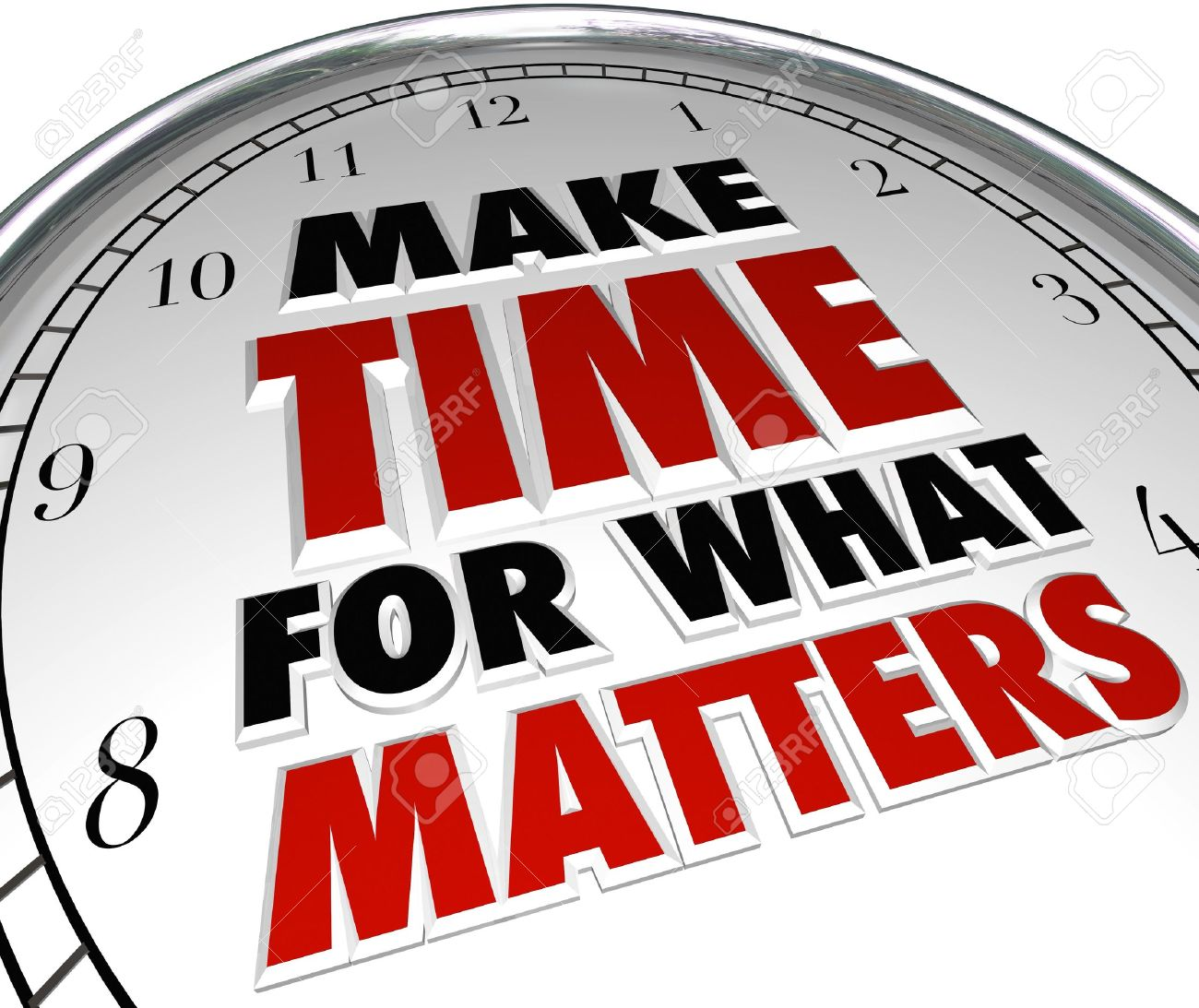 The words Make Time for What Matters on a clock representing the importance of making priorities for things that are important in life Stock Photo - 19046167