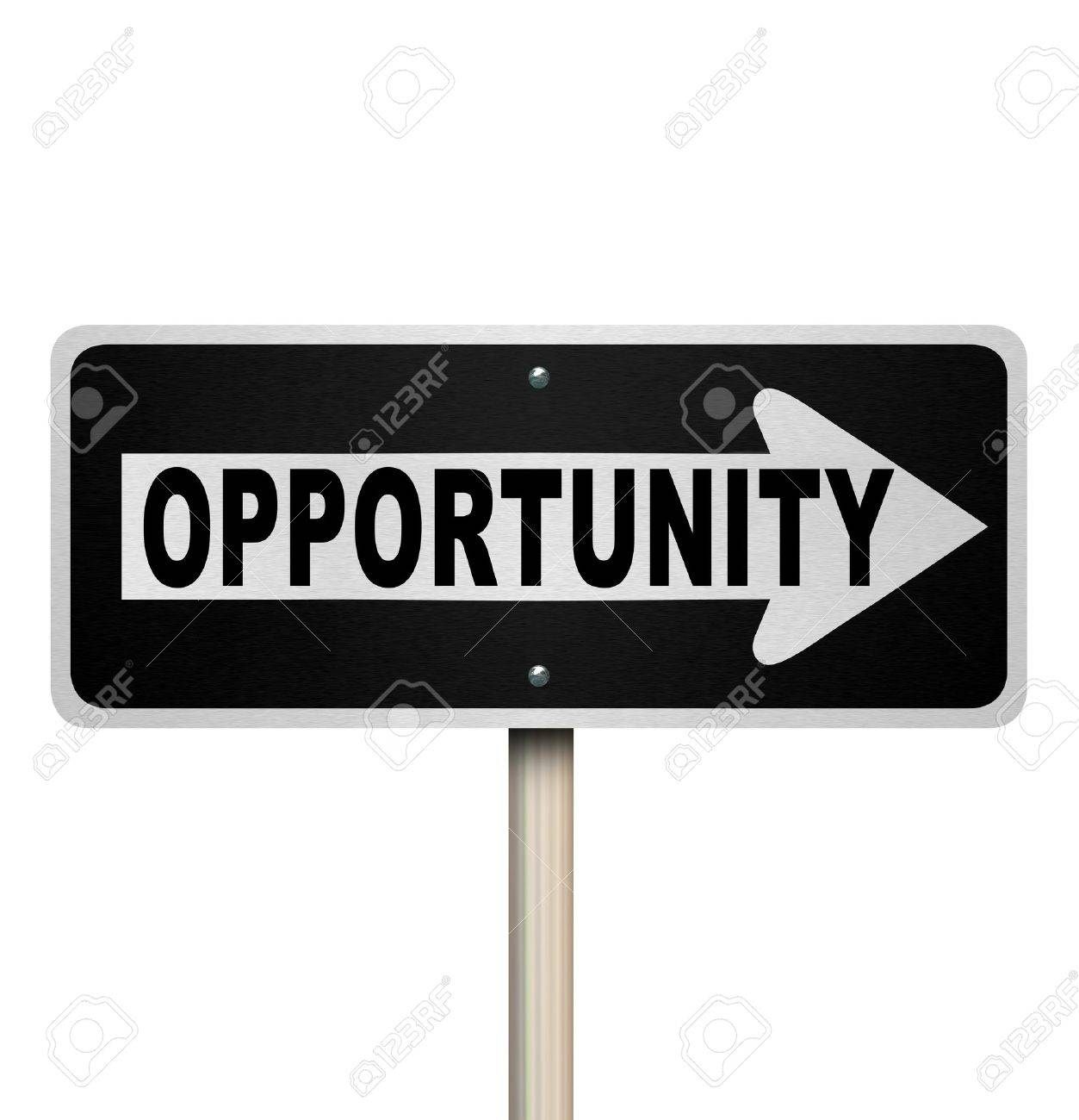 A road sign with the word Opportunity and arrow pointing right to symbolize a chance or moment for success in a job, career or life Stock Photo - 19046161
