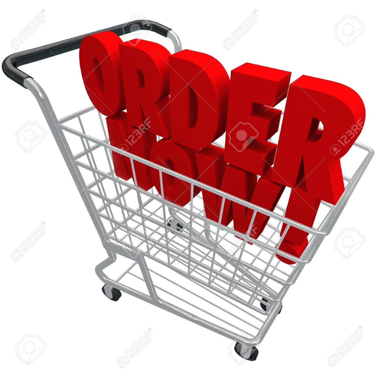 The words Order Now in a shopping basket to symbolize ecommerce and browsing or buying from an online store or shop Stock Photo - 19046242
