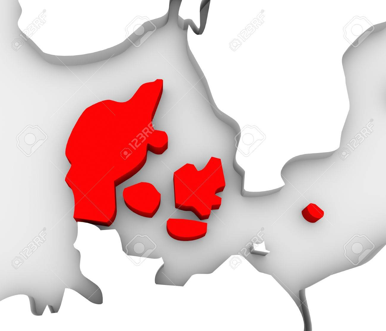 An illustrated 3d abstract map of northern Europe continent and Scandanavian countries with the country of Denmark highlighted in red Stock Photo - 19142049