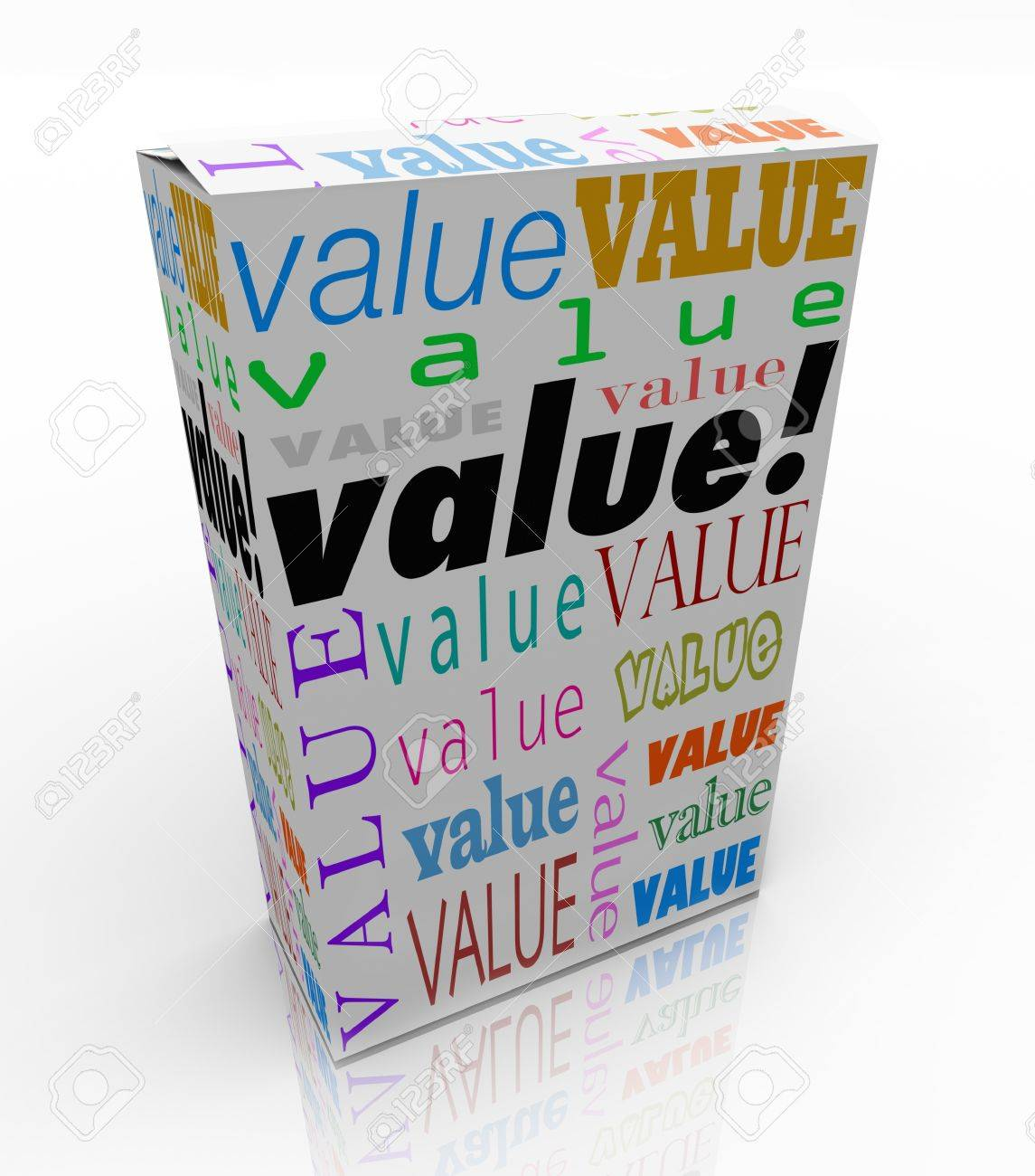 The word Value on a product box to symbolize or advertise it is the best package in terms of quality, price, and reputation of its contents Stock Photo - 19142067