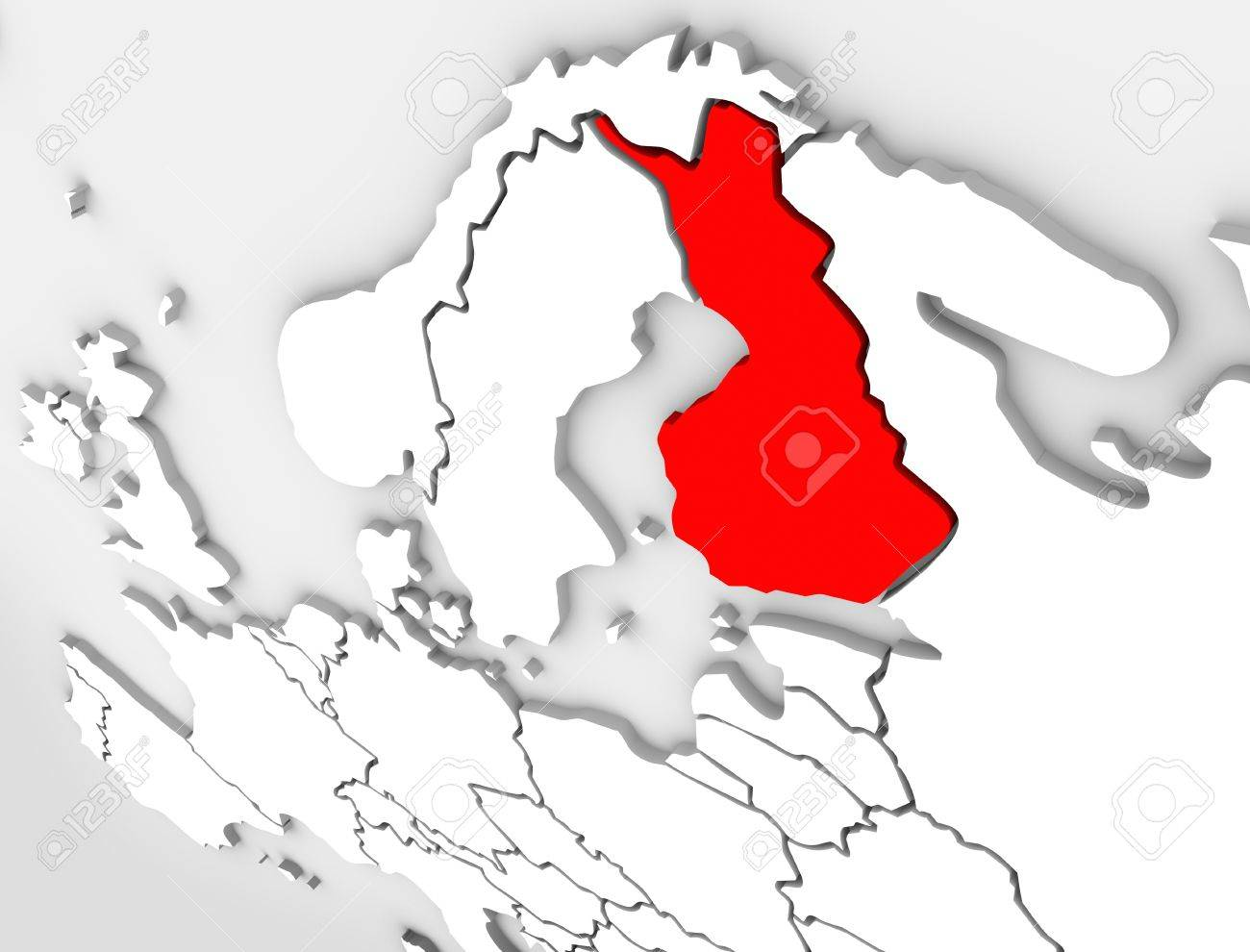 finland country on an abstract illustrated 3d map of northern europe continent and scandinavia region stock