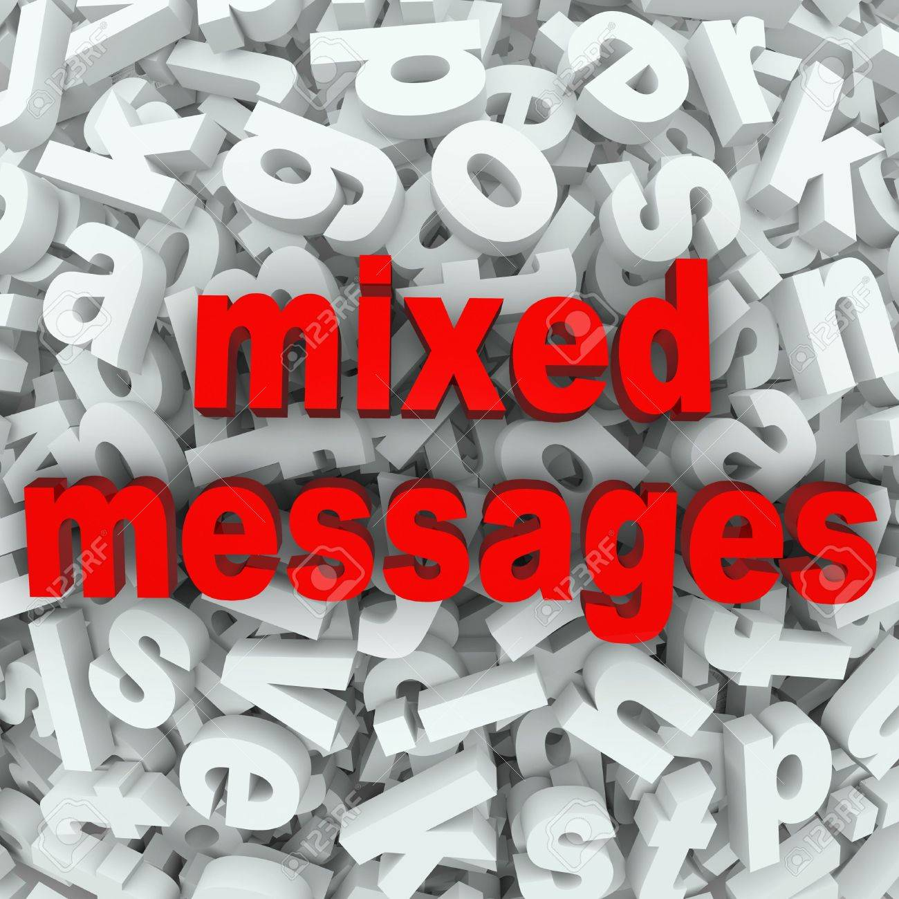 The Words Mixed Messages On A Background Of Random Letters And