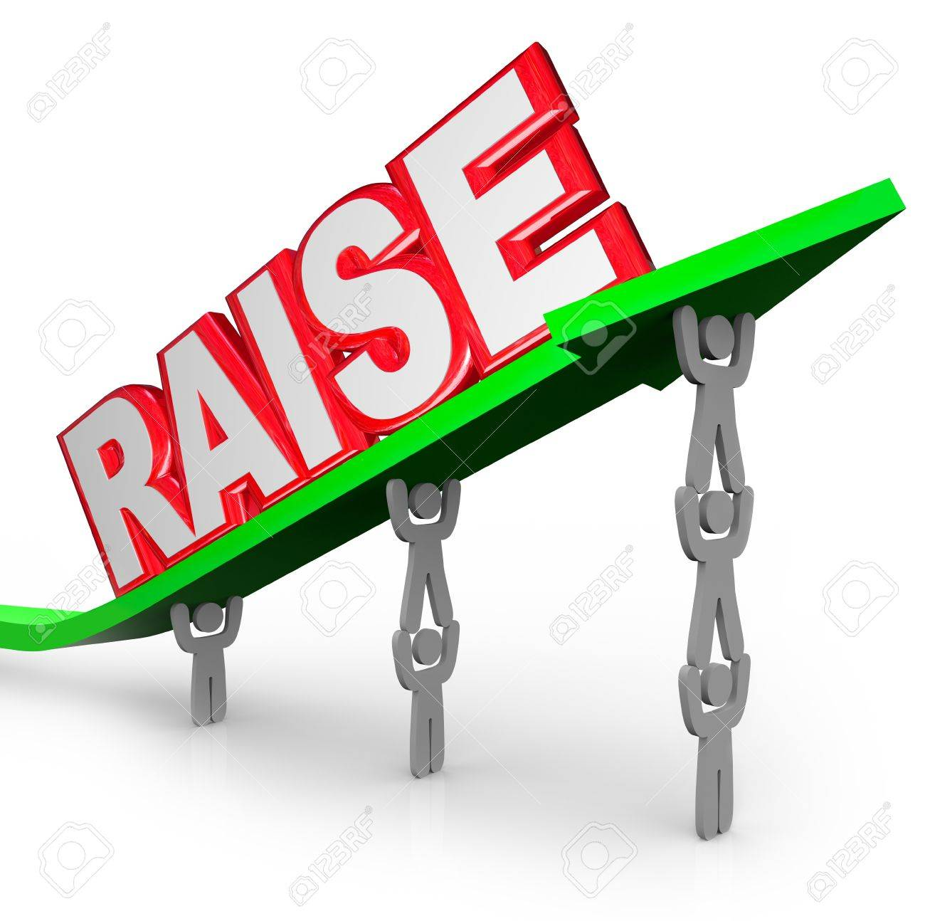 the word raise on an arrow lifted by workers who are asking for stock photo the word raise on an arrow lifted by workers who are asking for an increase in pay for a job well done