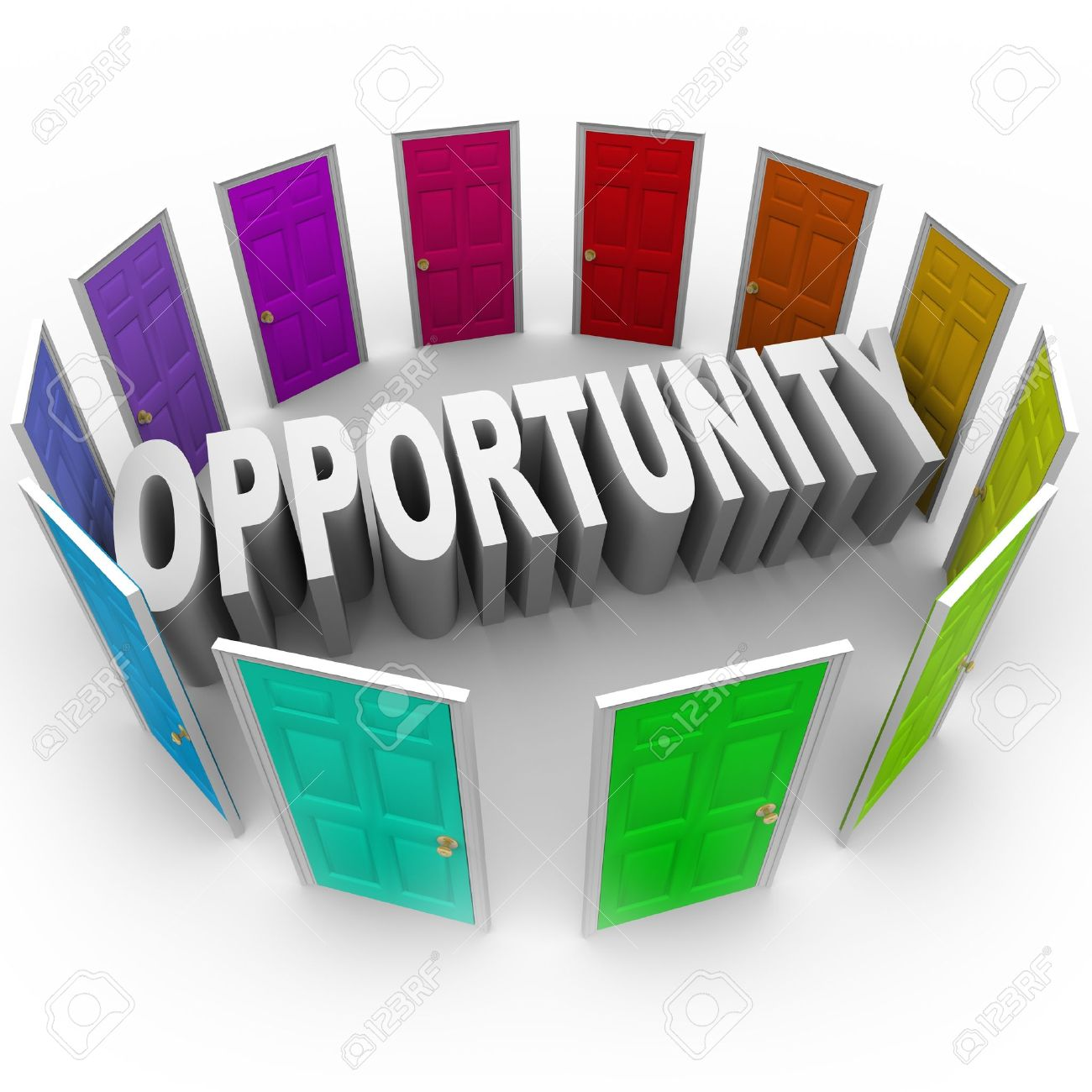 The word Opportunity in 3D letters surrounded by doors of different colors to illustrate a chance for a new career, path, fortune, or big break in your job or life Stock Photo - 19421088