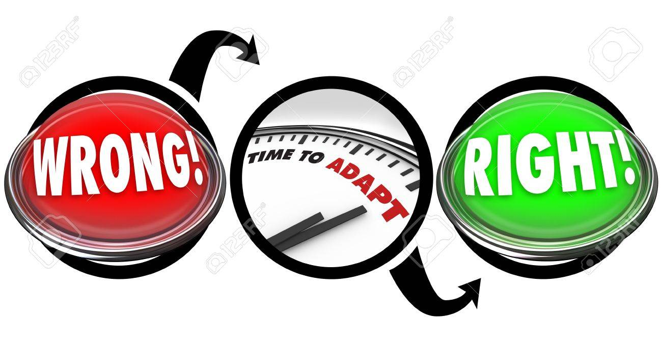 A red light with the word Wrong then an arrow pointing to a clock with words Time to Adapt, then the diagram ends with a green button reading Right Stock Photo - 19587006