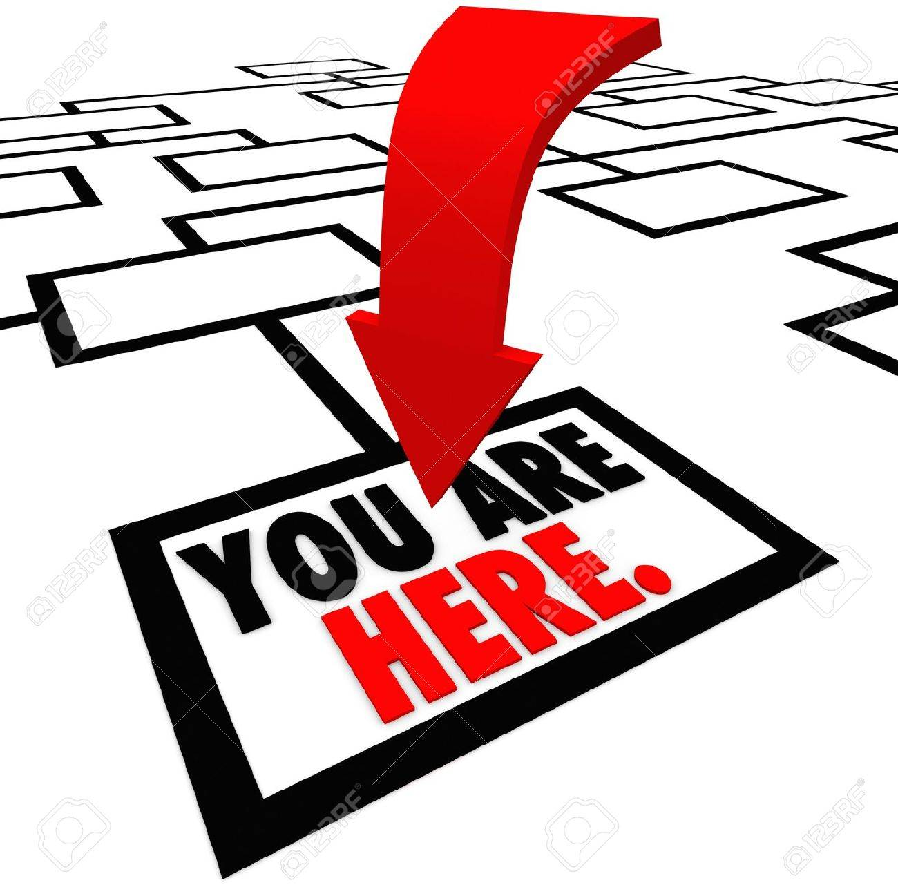 The words You are Here on the bottom square, job or position in an org or organization chart representing a business, company or workplace where you have a low entry level place in your career Stock Photo - 19587128