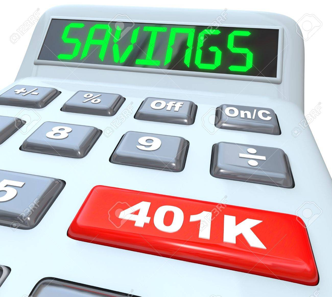 The word Savings on a calculator and 401K on a red button to illustrate financial security and building or investing in a nest-egg of money for the future Stock Photo - 19587199