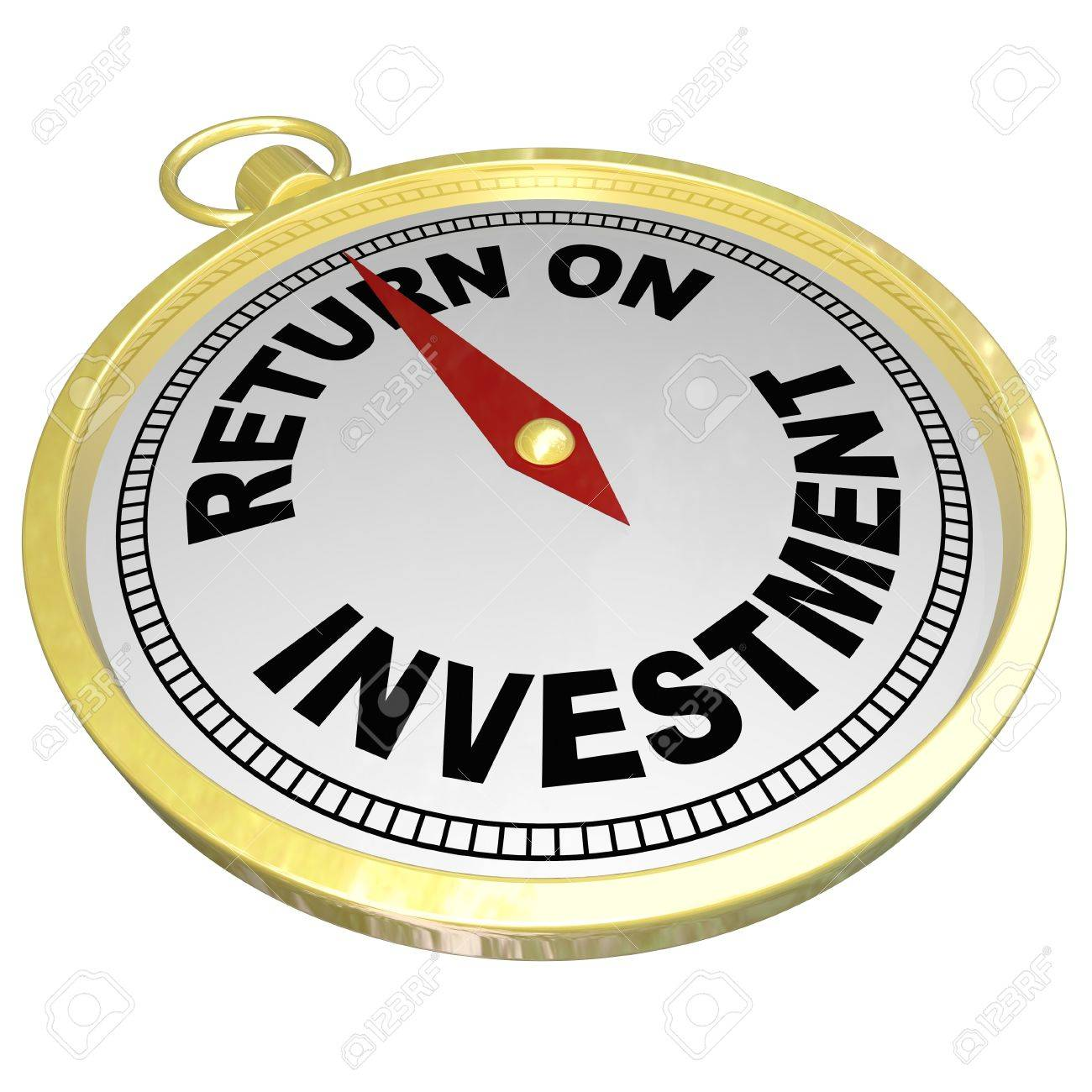 A gold compass with red needle pointing to words Return on Investment to illustrate ROI, investing in stocks, bonds, real estate or other money matters to grow wealth Stock Photo - 19587253