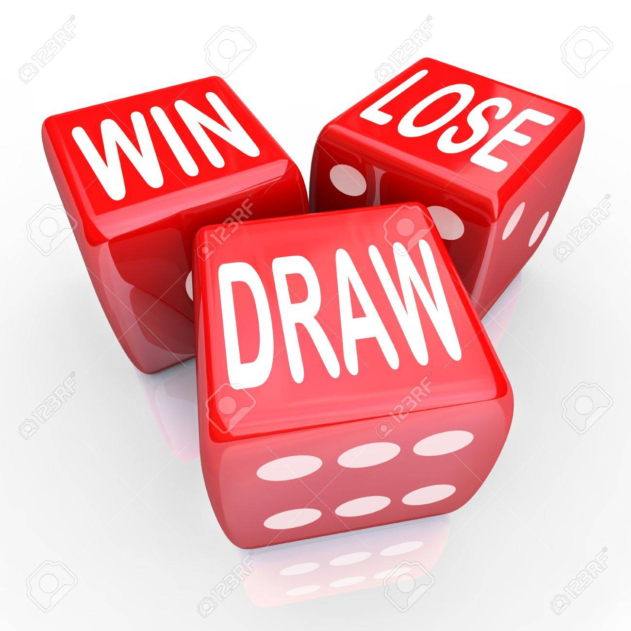 Win Lose And Draw Words On Three Red Dice Rolling In A Game Stock