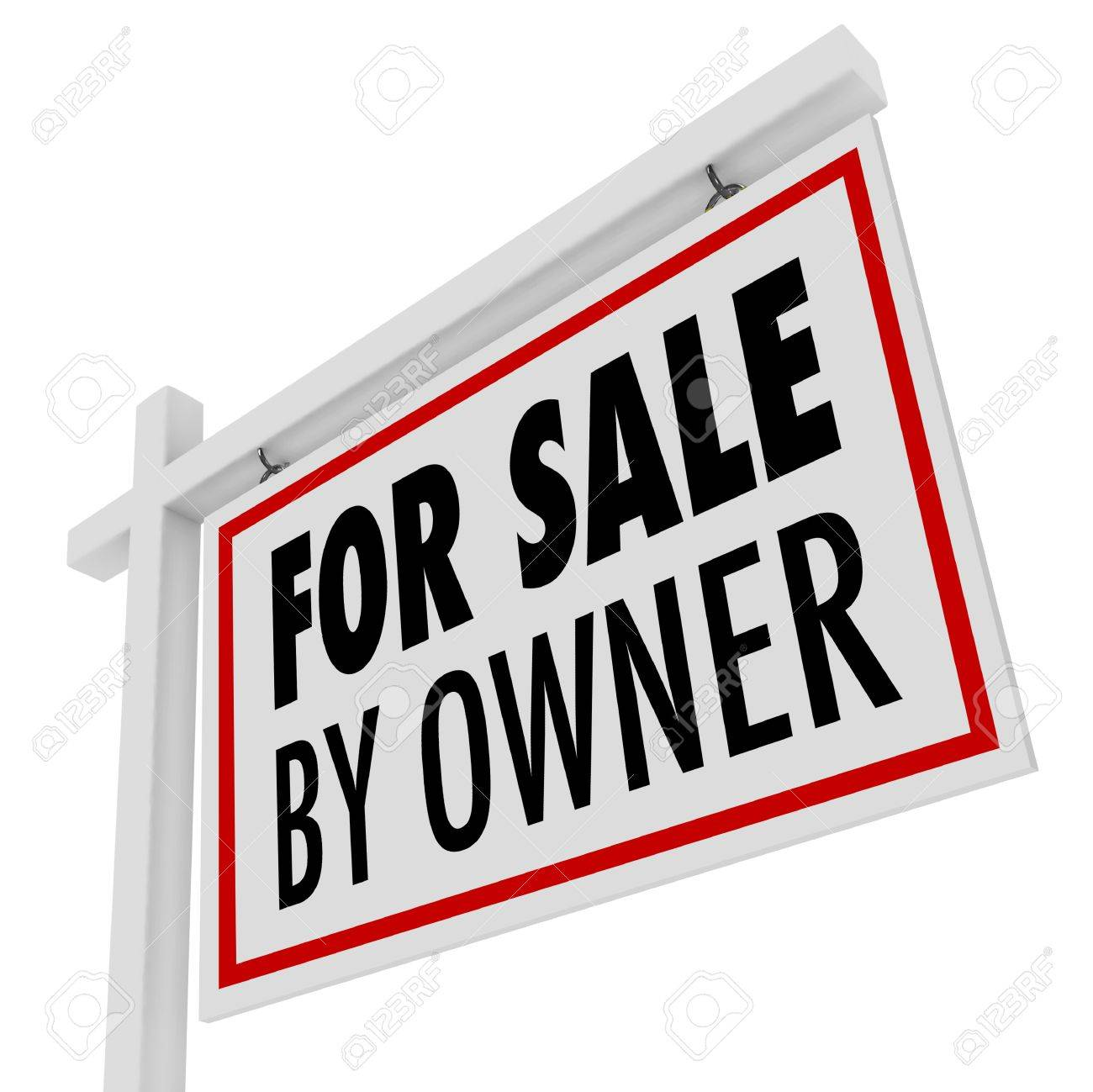 the words for sale by owner on a home or house for sale sign stock