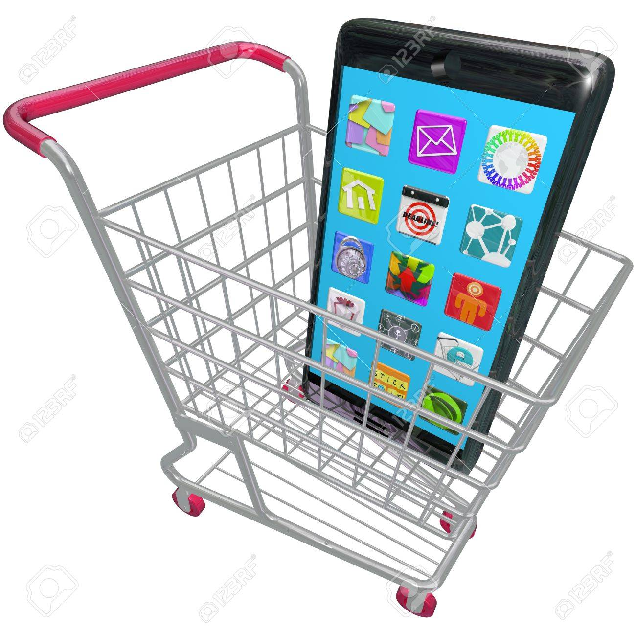 A new smart phone or cellphone in a shopping cart to illustrate buying a new mobile telephone Stock Photo - 19744861