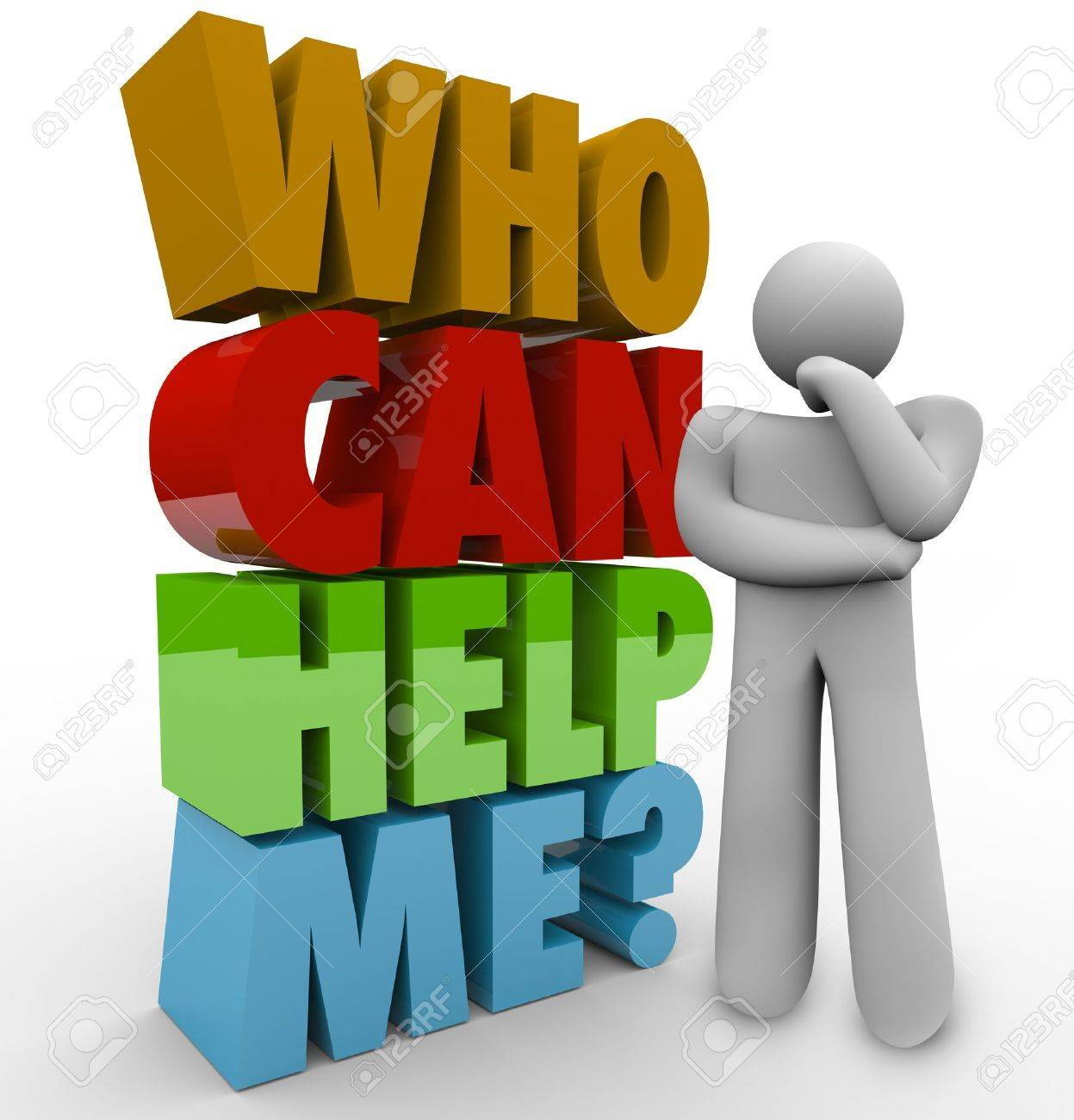 A thinker beside the words Who Can Help Me? to illustrate his need for customer service or support in solving a problem Stock Photo - 19912274
