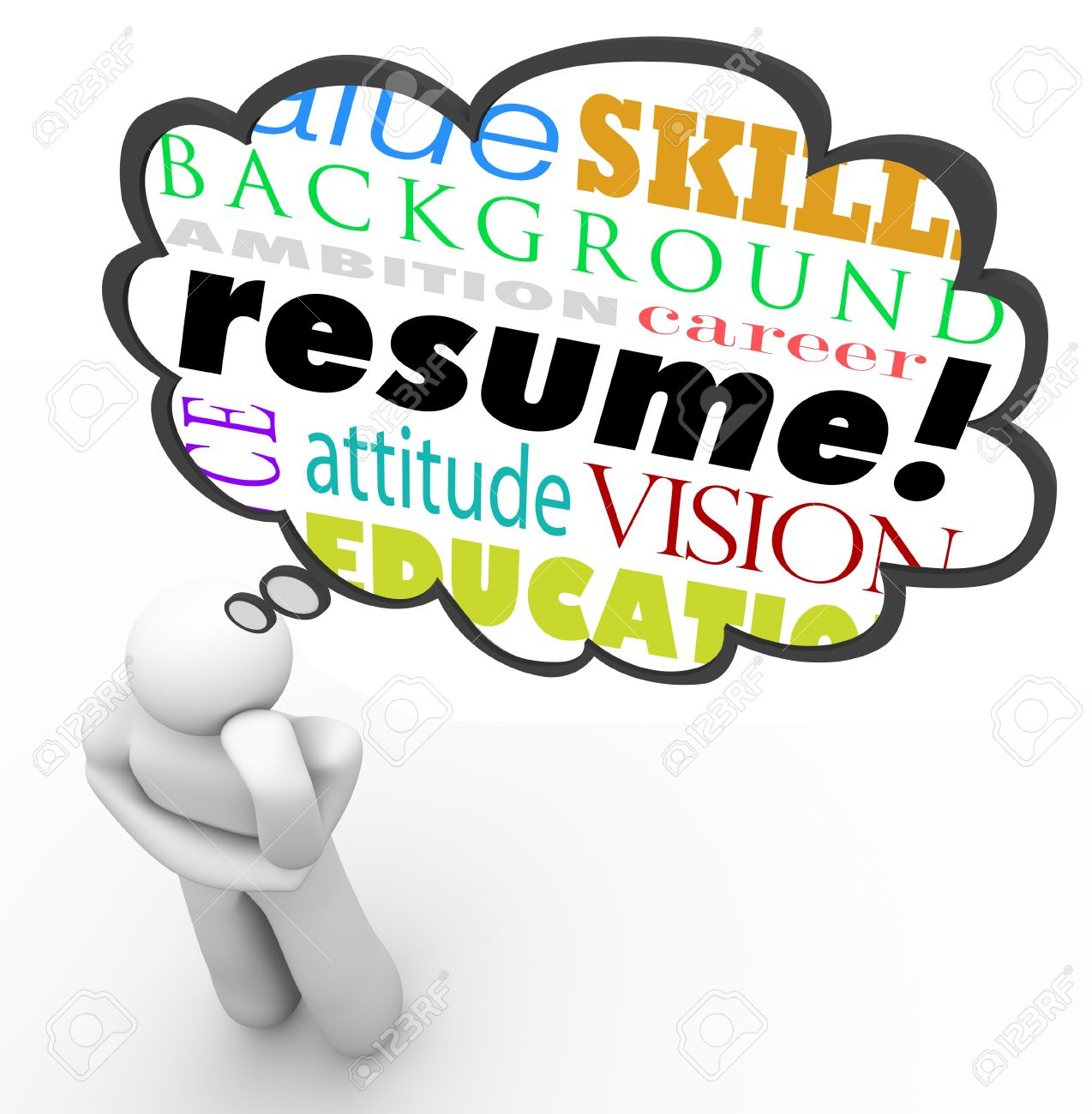 Resume Cloud Experience Resume a thought cloud above thinking person with words resume experience backgruond