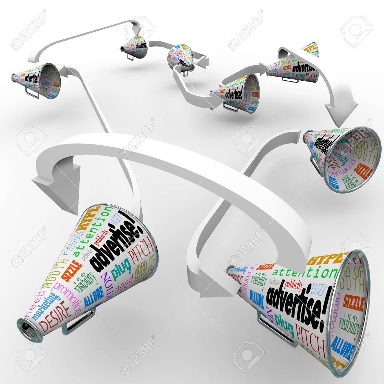 Many bullhorns or megaphones with the word Advertise and other terms such as attention, pitch, publicity, and marketing to get the message out on your business or product Stock Photo - 19912321