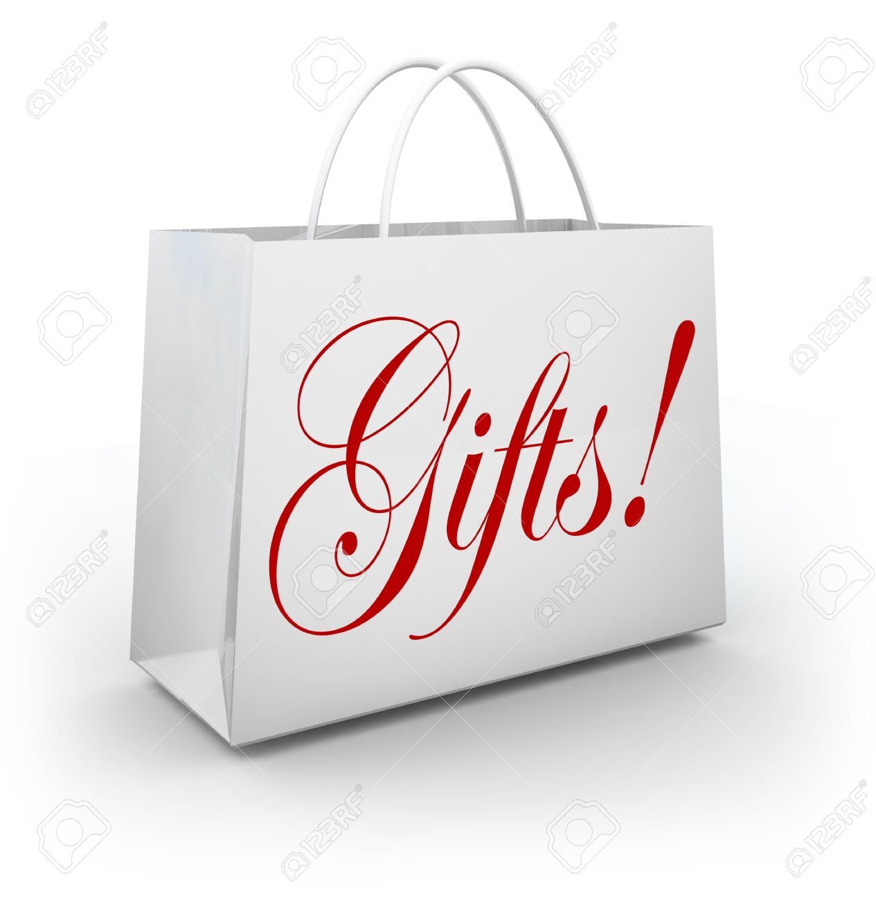 the word gifts on a paper shopping bag from an upscale store stock