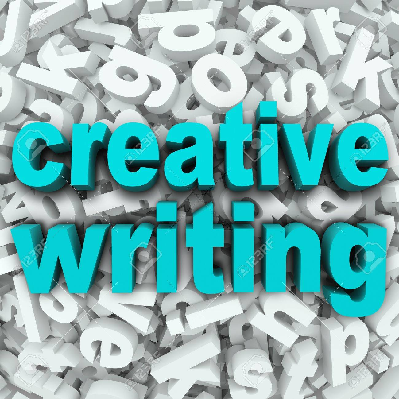 The Words Creative Writing On A 3d Background Of Random Letters