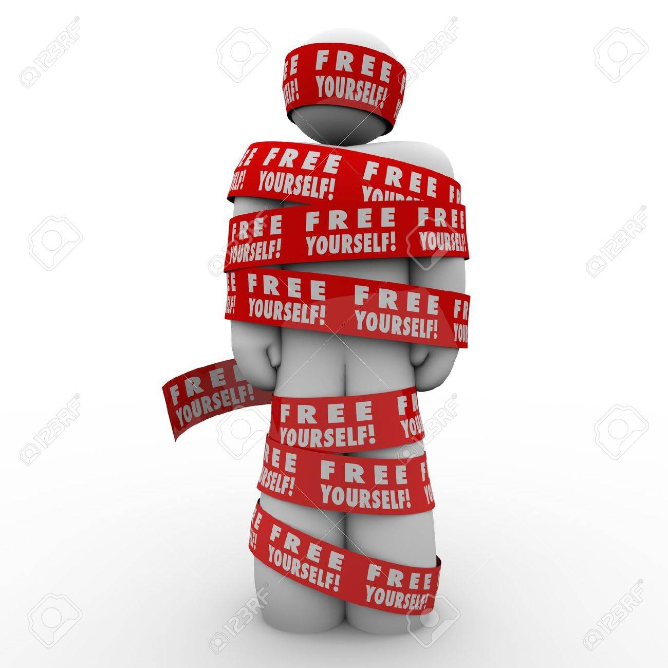 A person or man is oppressed and wrapped up in red tape reading Free Yourself to illustrate the need to fight back and be liberated from the chains that bind you Stock Photo - 20163333