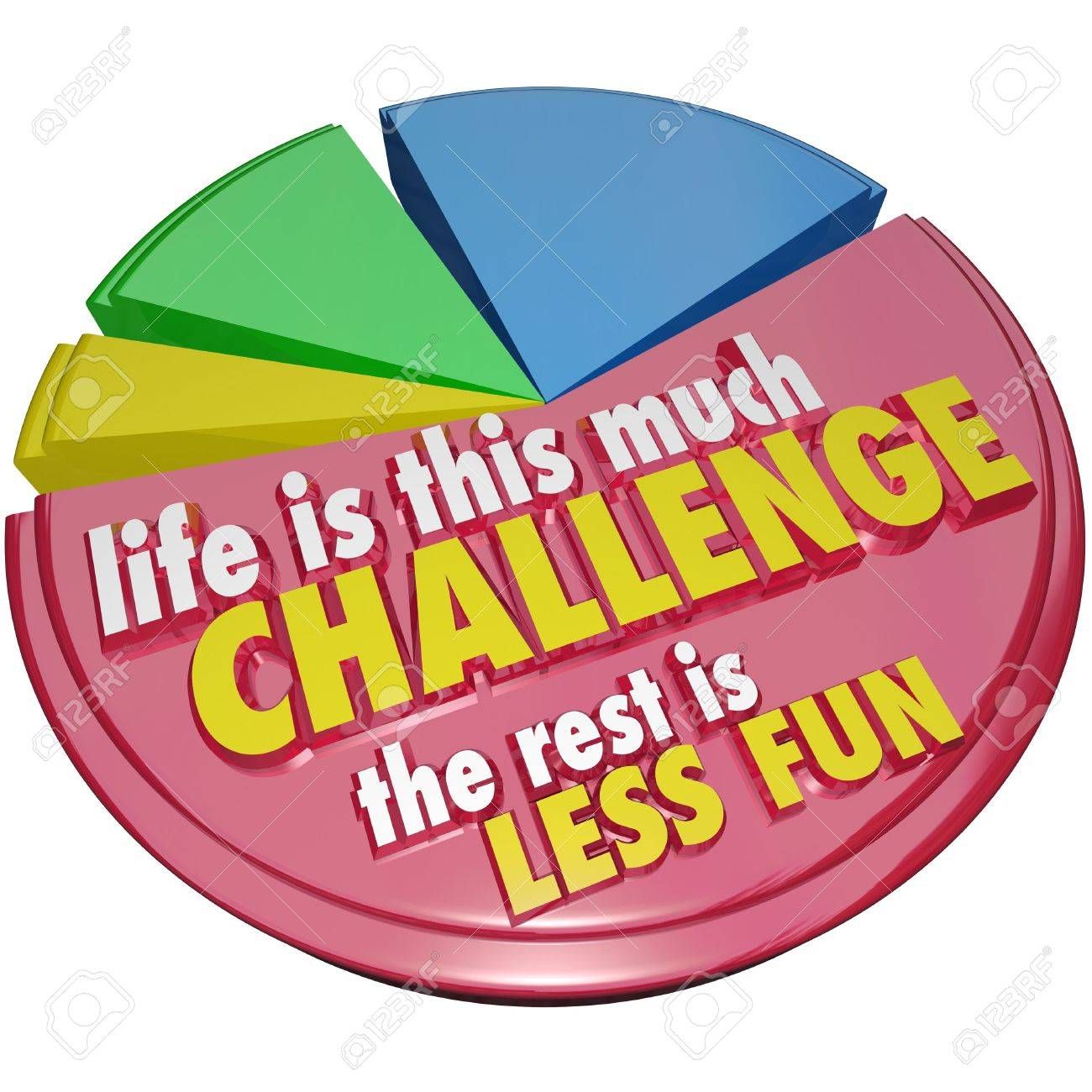 The words, saying or quote Life is This Much Challenge, the Rest is Less Fun to illustrate how the moments of difficulty or adversity are most important and rewarding Stock Photo - 20163350