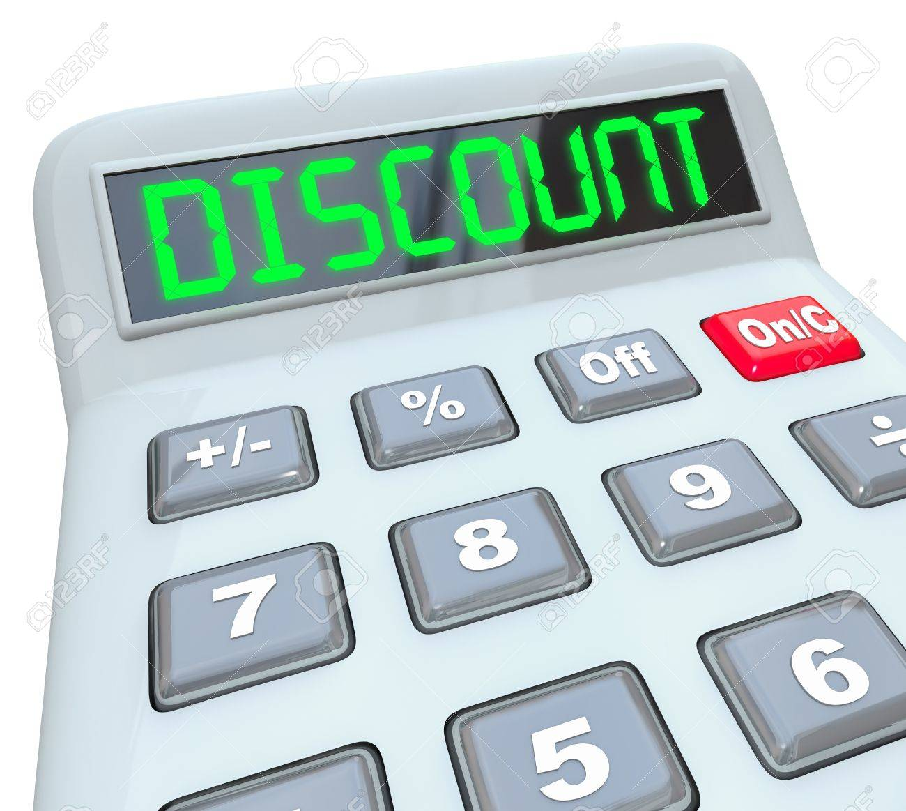 the word discount on a calculator to illustrate savings sale
