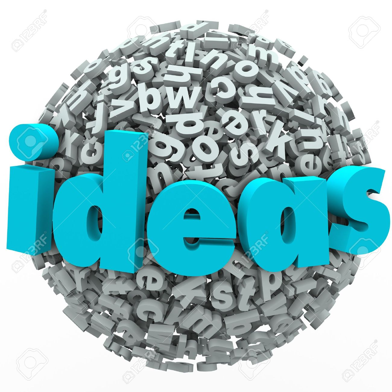 A ball or sphere of letters and the word Ideas to illustrate creativity, imagination, brainstorming and thinking of a solution or new innovative approach Stock Photo - 20329609