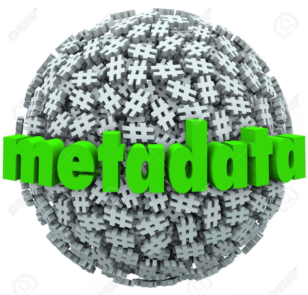 A ball or sphere of hash tags or number pound signs and the word Metadata to illustrate posts and data published on websites or social network sites Stock Photo - 20401869
