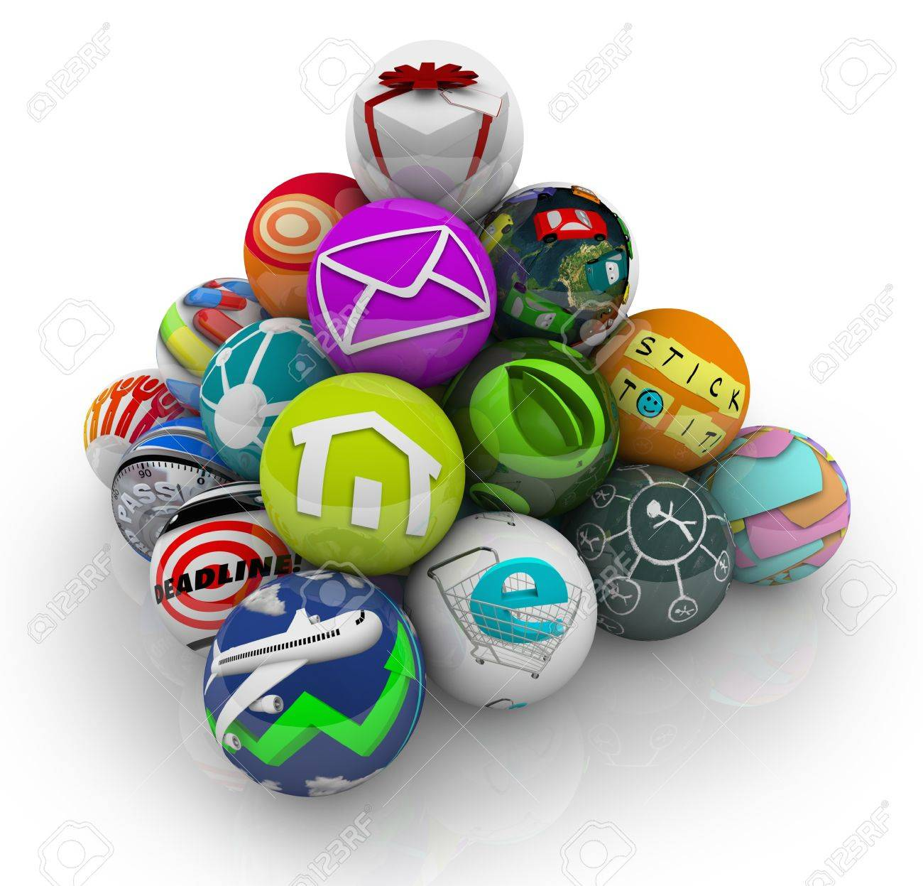 Many Mobile Apps And Software Programs Illustrated By Spheres ...
