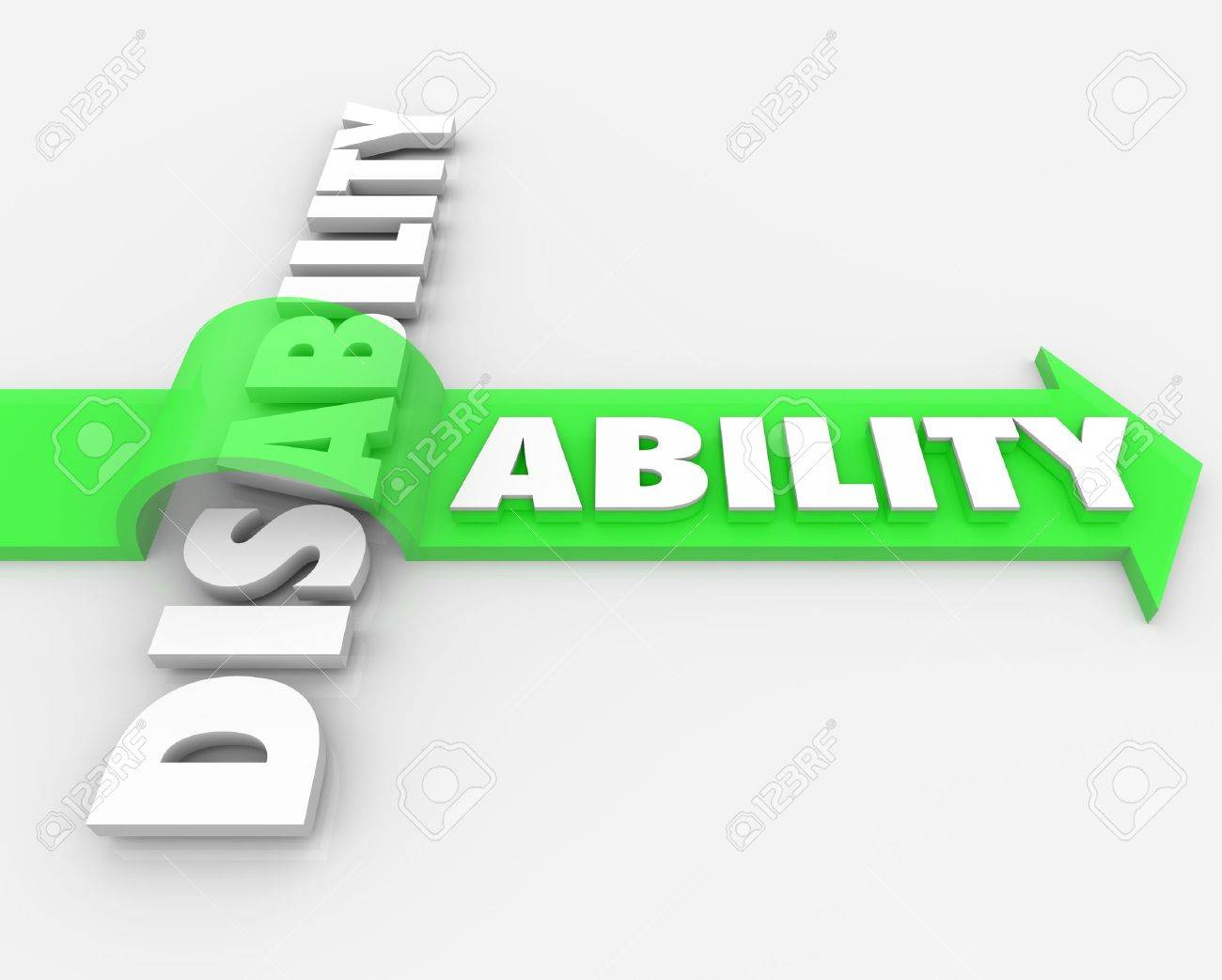 A positive attitude and determination can help you overcome your disability and turn a challenge, obstacle or adversity into a new ability Stock Photo - 20621996