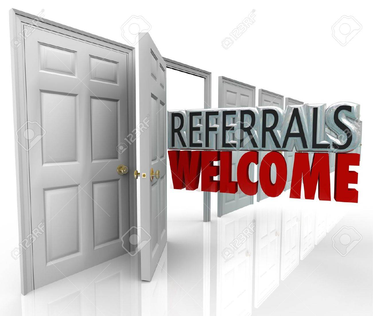 The words Referrals Welcome coming out an open door to encourage customers to refer friends and family to your business Stock Photo - 20622183